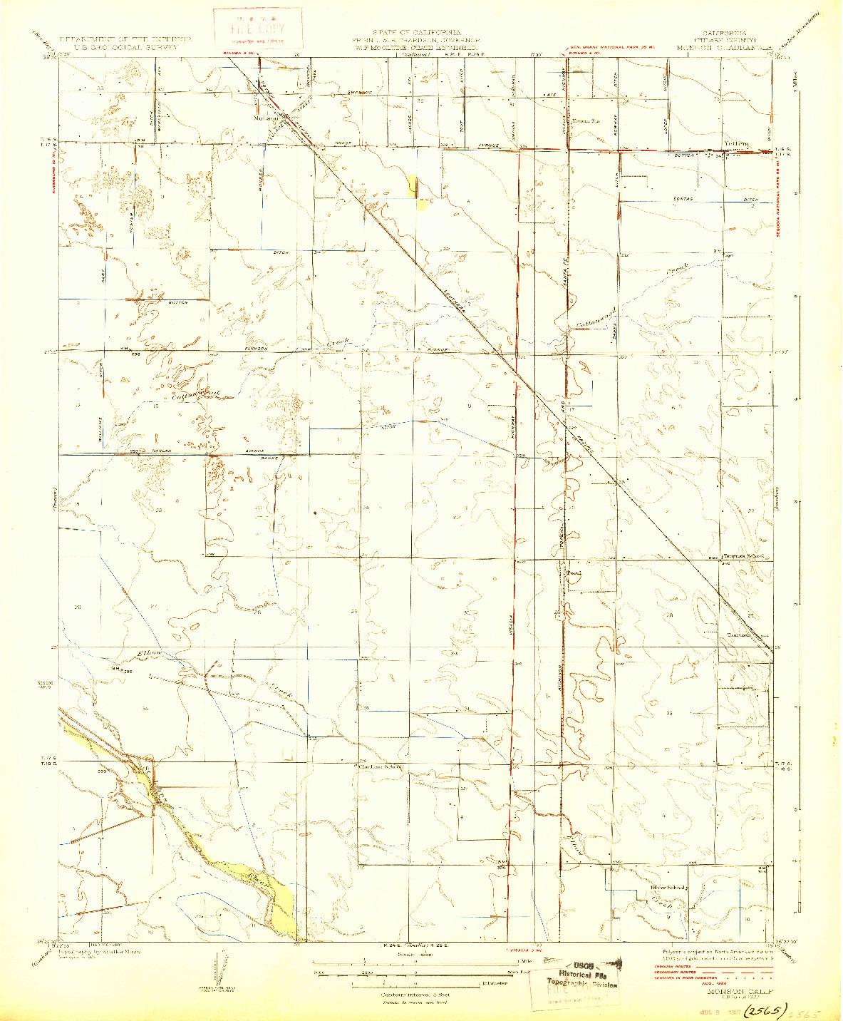 USGS 1:31680-SCALE QUADRANGLE FOR MONSON, CA 1927