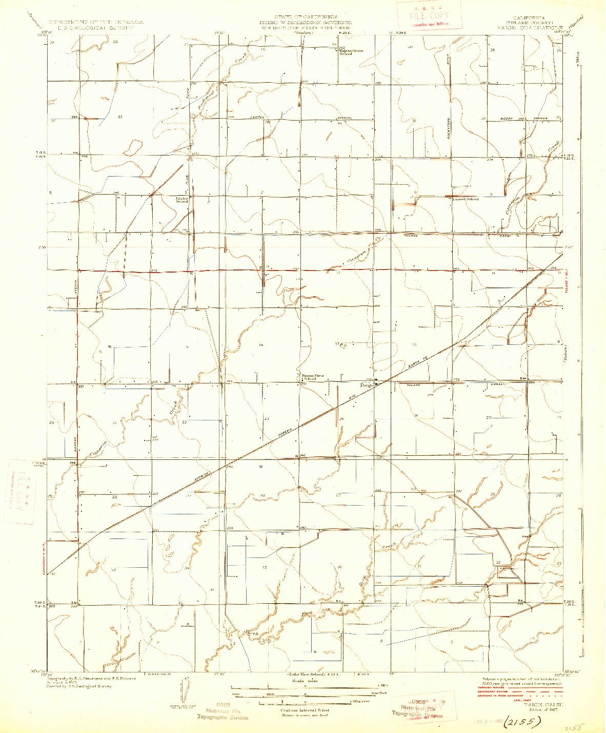 USGS 1:31680-SCALE QUADRANGLE FOR PAIGE, CA 1927