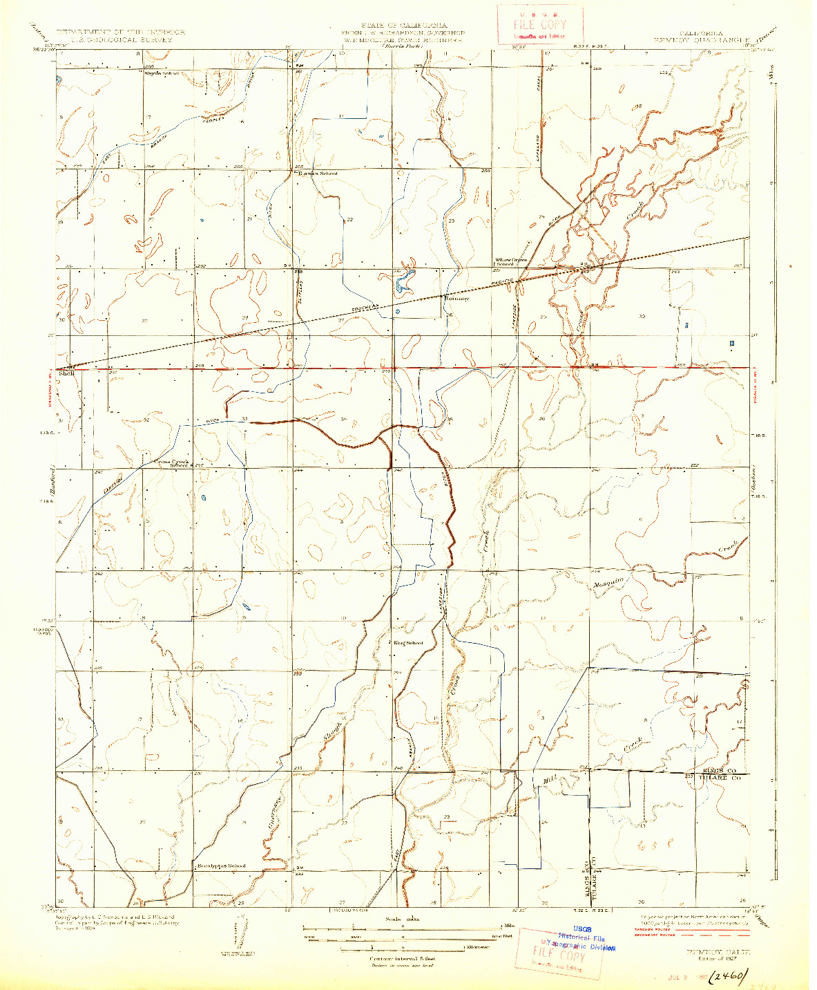 USGS 1:31680-SCALE QUADRANGLE FOR REMNOY, CA 1927