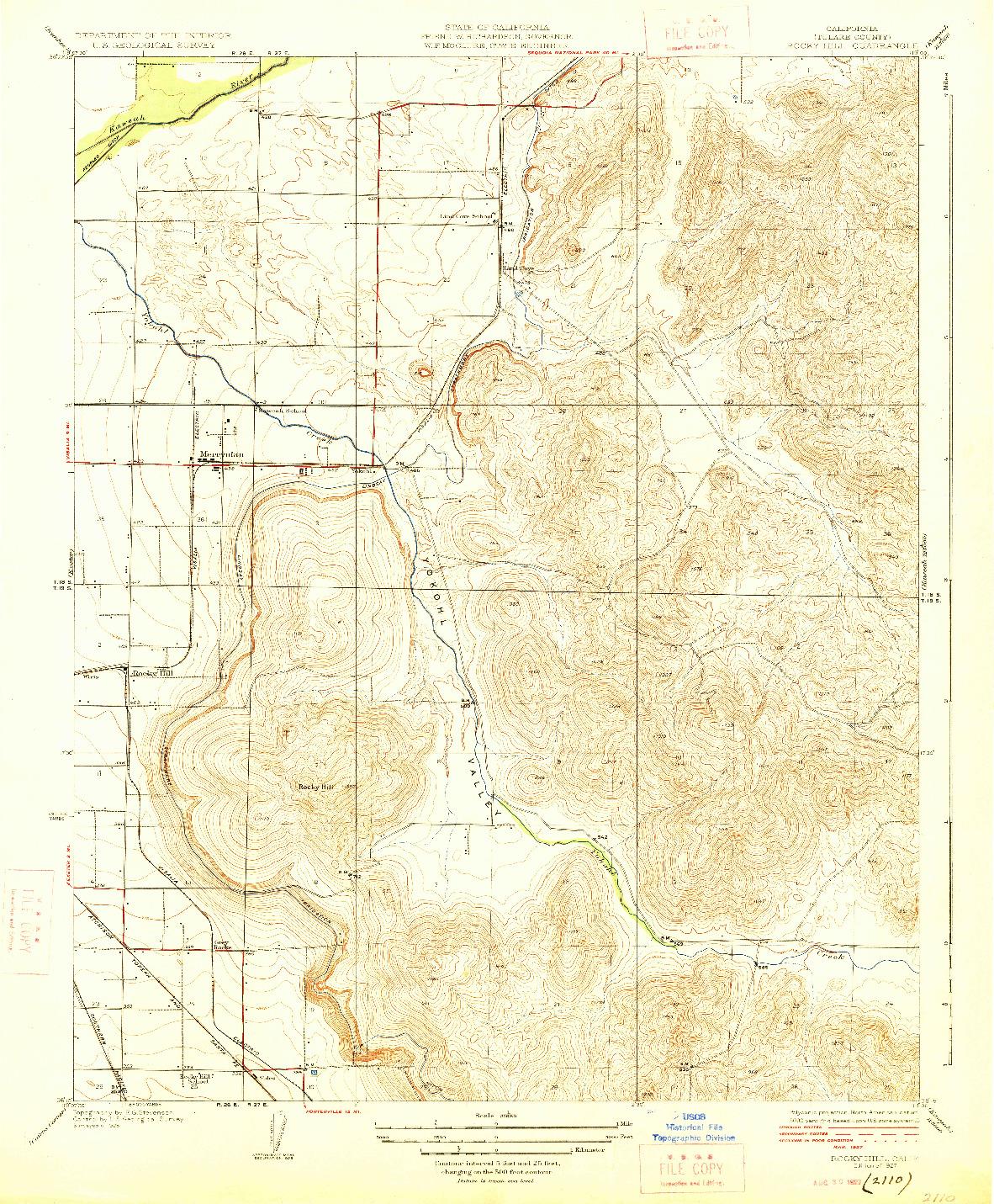 USGS 1:31680-SCALE QUADRANGLE FOR ROCKY HILL, CA 1927