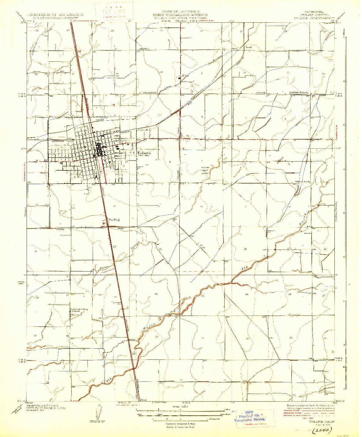USGS 1:31680-SCALE QUADRANGLE FOR TULARE, CA 1927