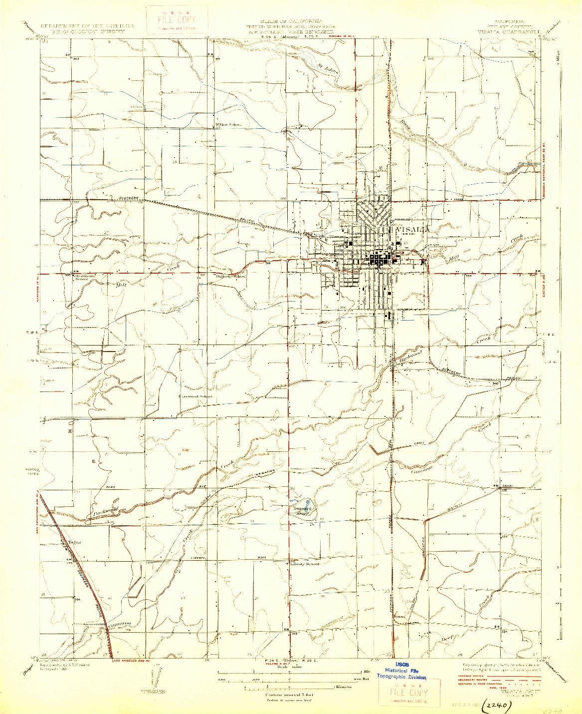 USGS 1:31680-SCALE QUADRANGLE FOR VISALIA, CA 1927