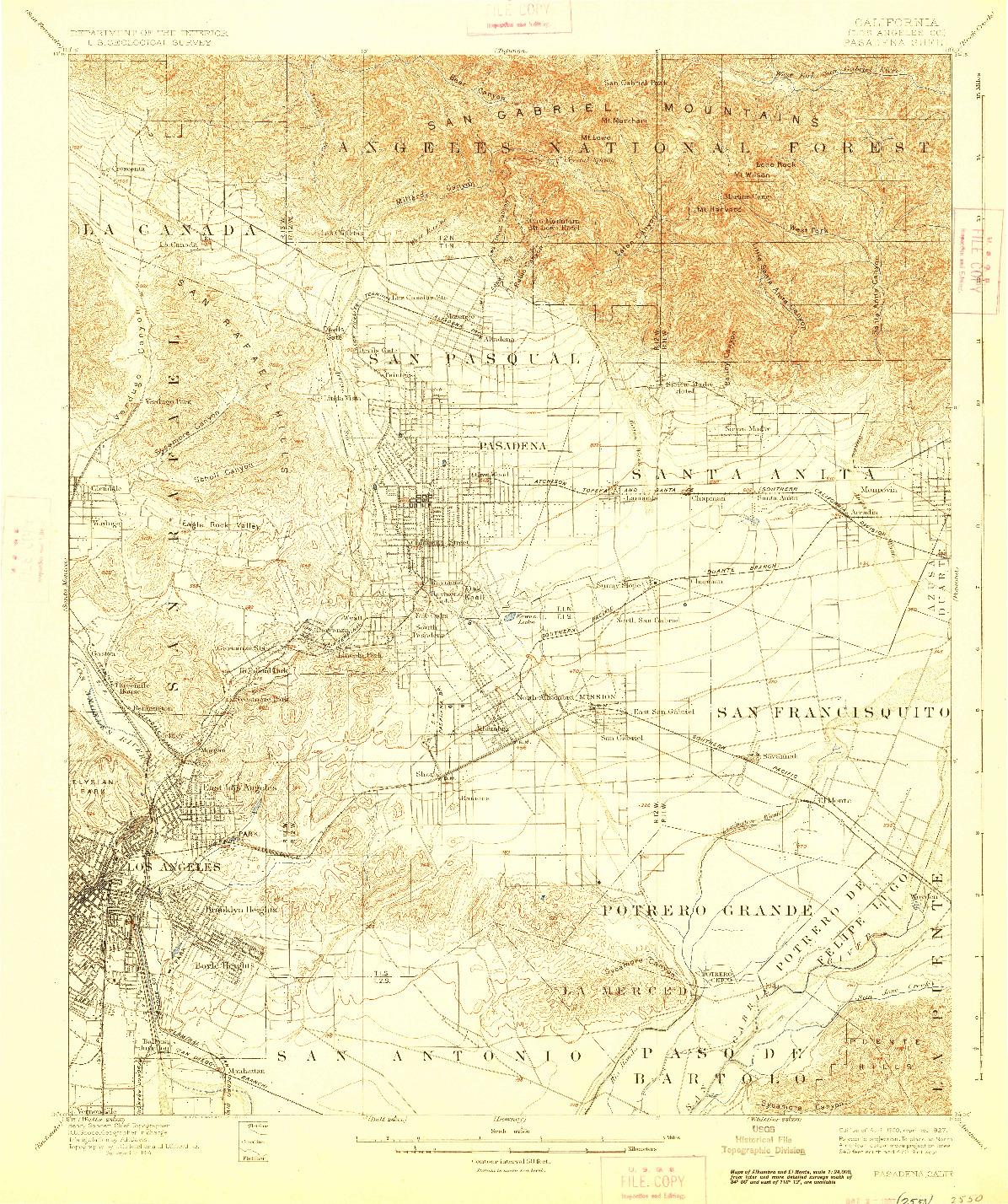 USGS 1:62500-SCALE QUADRANGLE FOR PASADENA, CA 1900