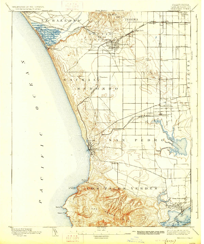 USGS 1:62500-SCALE QUADRANGLE FOR REDONDO, CA 1896
