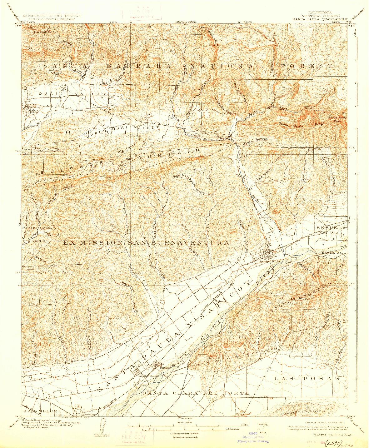USGS 1:62500-SCALE QUADRANGLE FOR SANTA PAULA, CA 1903