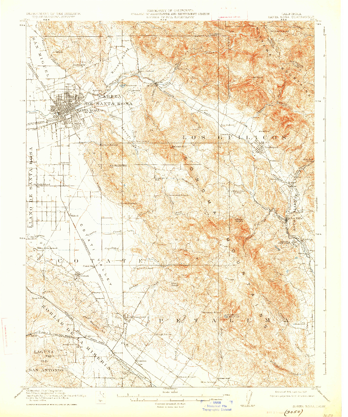 USGS 1:62500-SCALE QUADRANGLE FOR SANTA ROSA, CA 1916