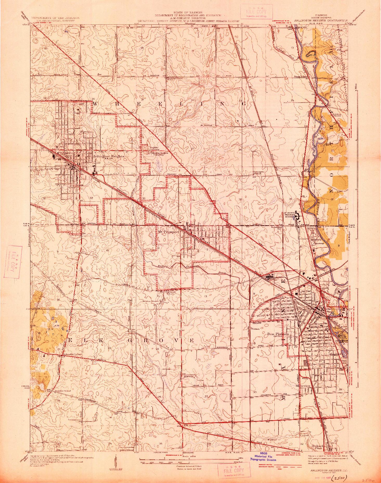 USGS 1:24000-SCALE QUADRANGLE FOR ARLINGTON HEIGHTS, IL 1927