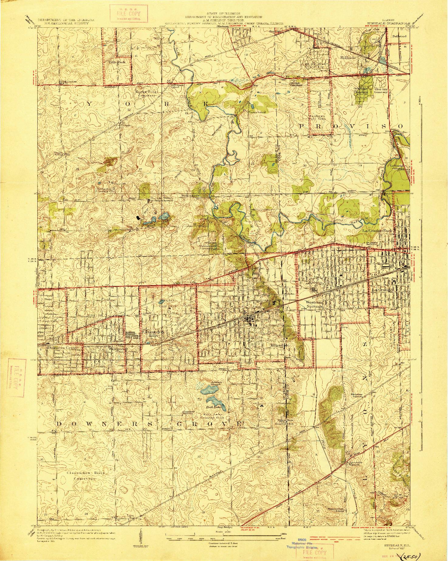 USGS 1:24000-SCALE QUADRANGLE FOR HINSDALE, IL 1927