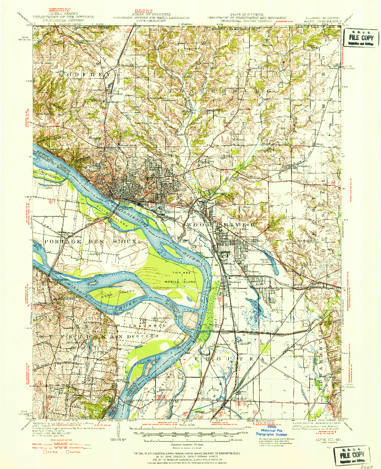 USGS 1:62500-SCALE QUADRANGLE FOR ALTON, IL 1927