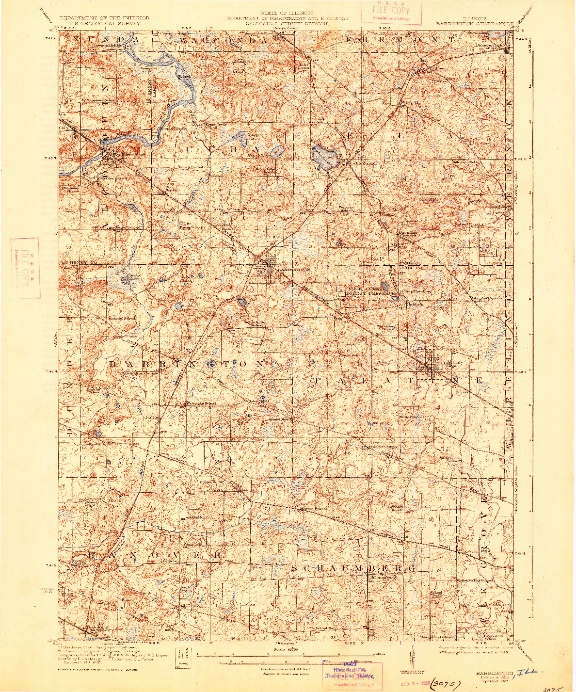 USGS 1:62500-SCALE QUADRANGLE FOR BARRINGTON, IL 1923