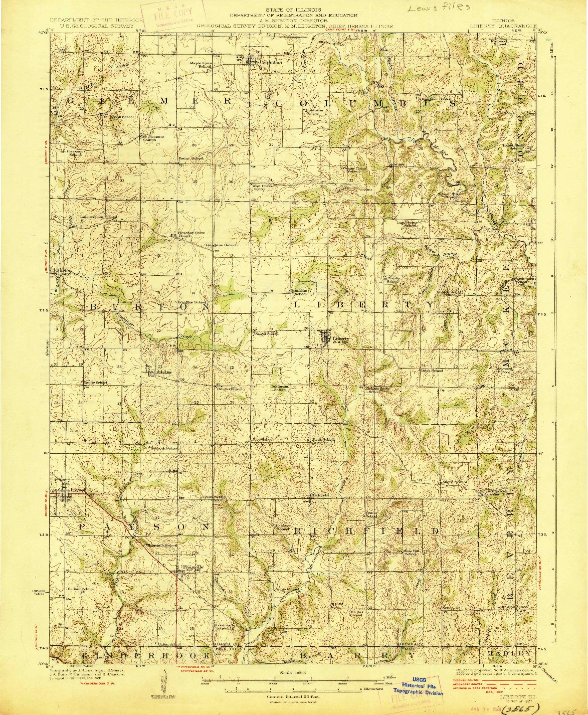 USGS 1:62500-SCALE QUADRANGLE FOR LIBERTY, IL 1927