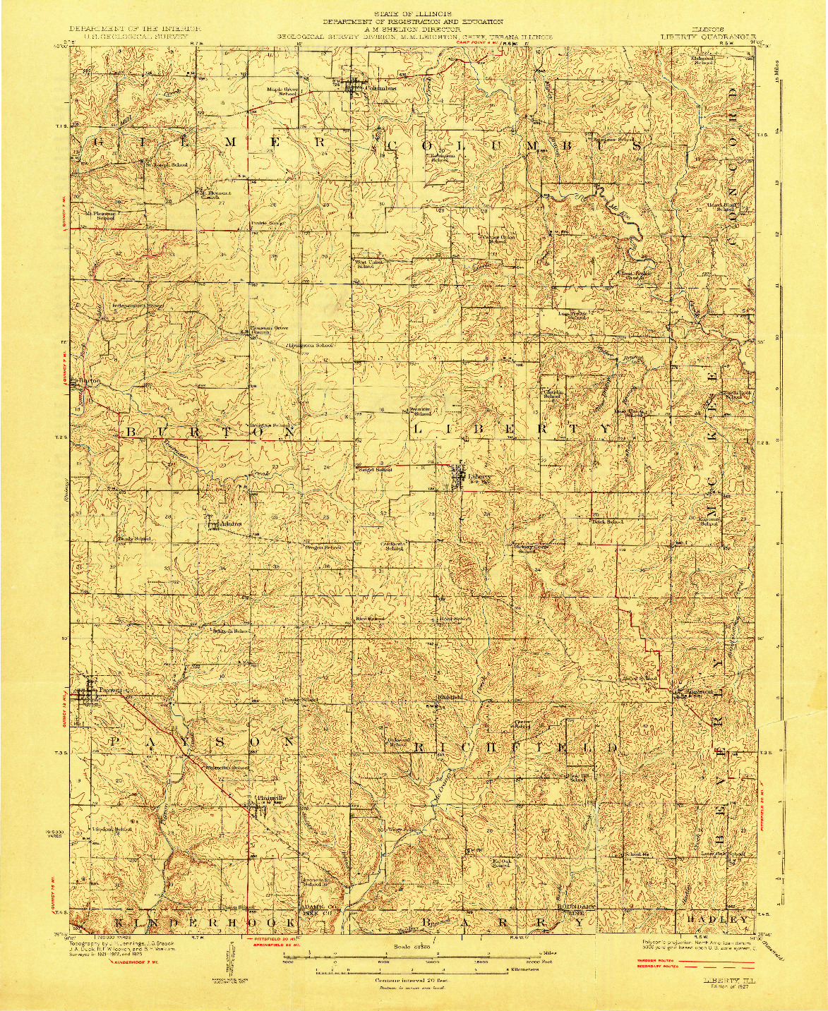 USGS 1:62500-SCALE QUADRANGLE FOR LIBERTY, IL 1927
