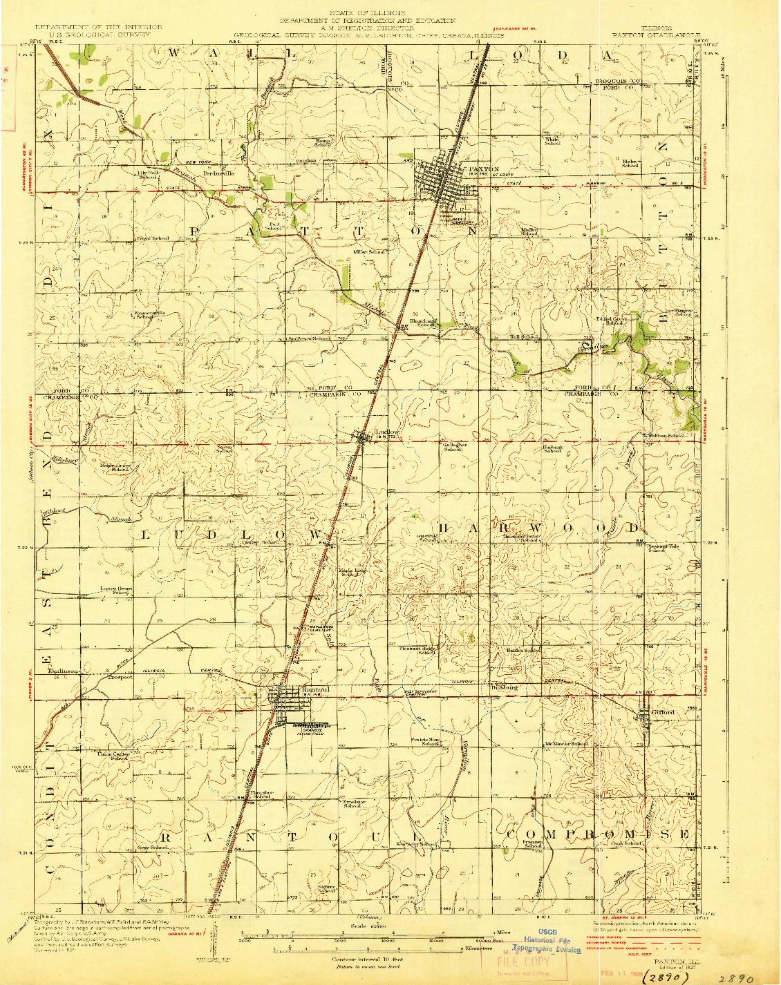 USGS 1:62500-SCALE QUADRANGLE FOR PAXTON, IL 1927