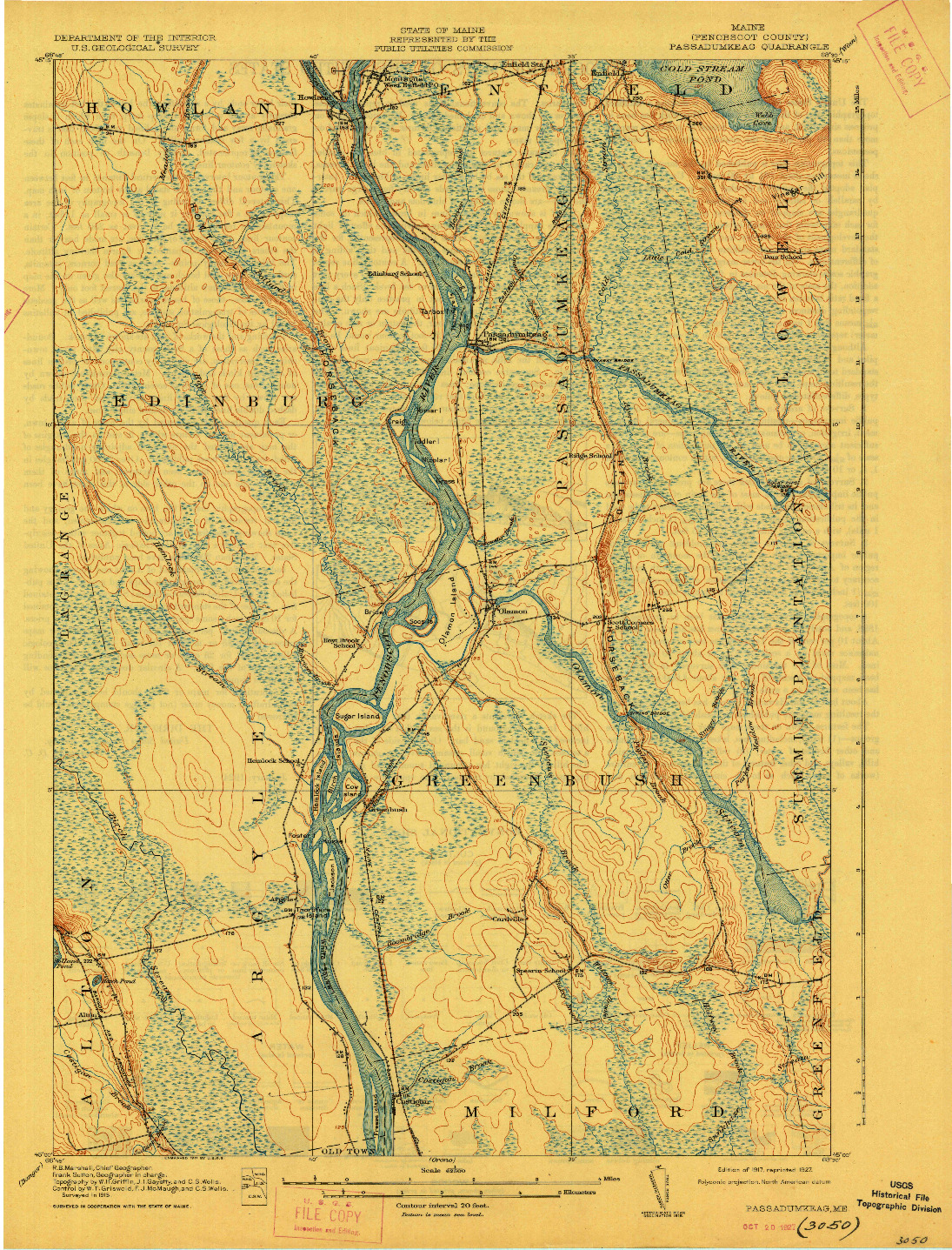 USGS 1:62500-SCALE QUADRANGLE FOR PASSADUMKEAG, ME 1917