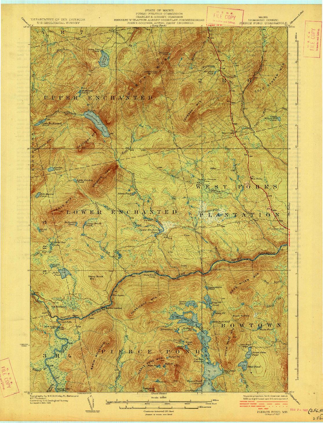 USGS 1:62500-SCALE QUADRANGLE FOR PIERCE POND, ME 1927