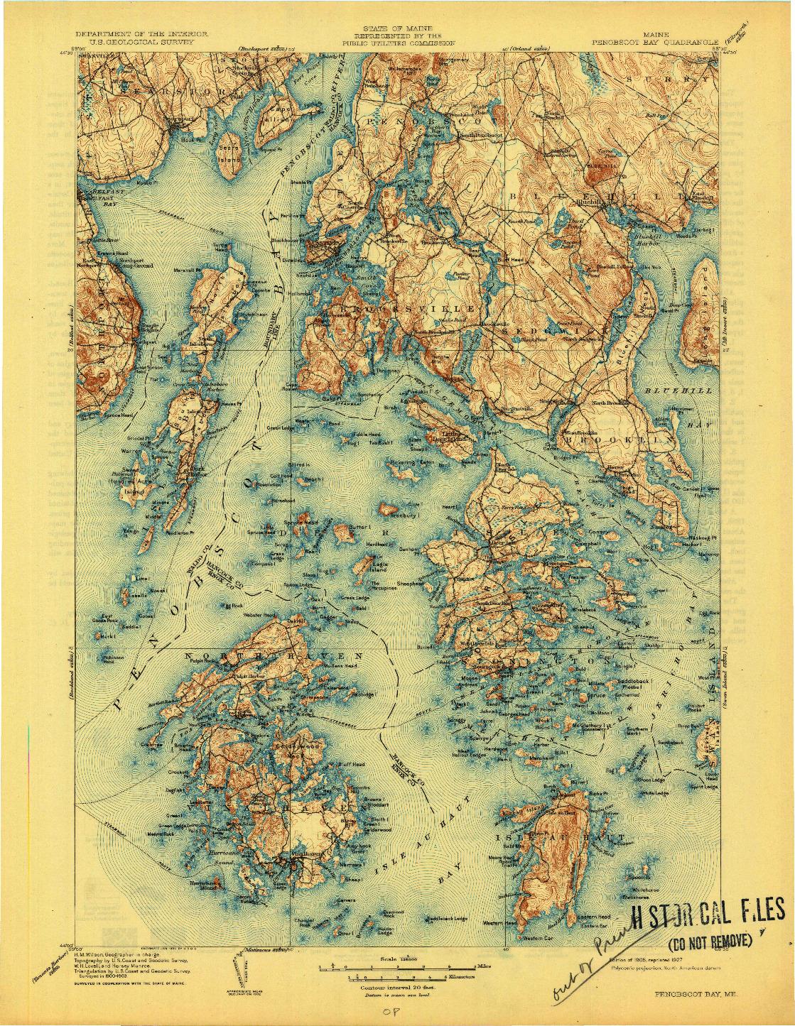 USGS 1:125000-SCALE QUADRANGLE FOR PENOBSCOT BAY, ME 1905