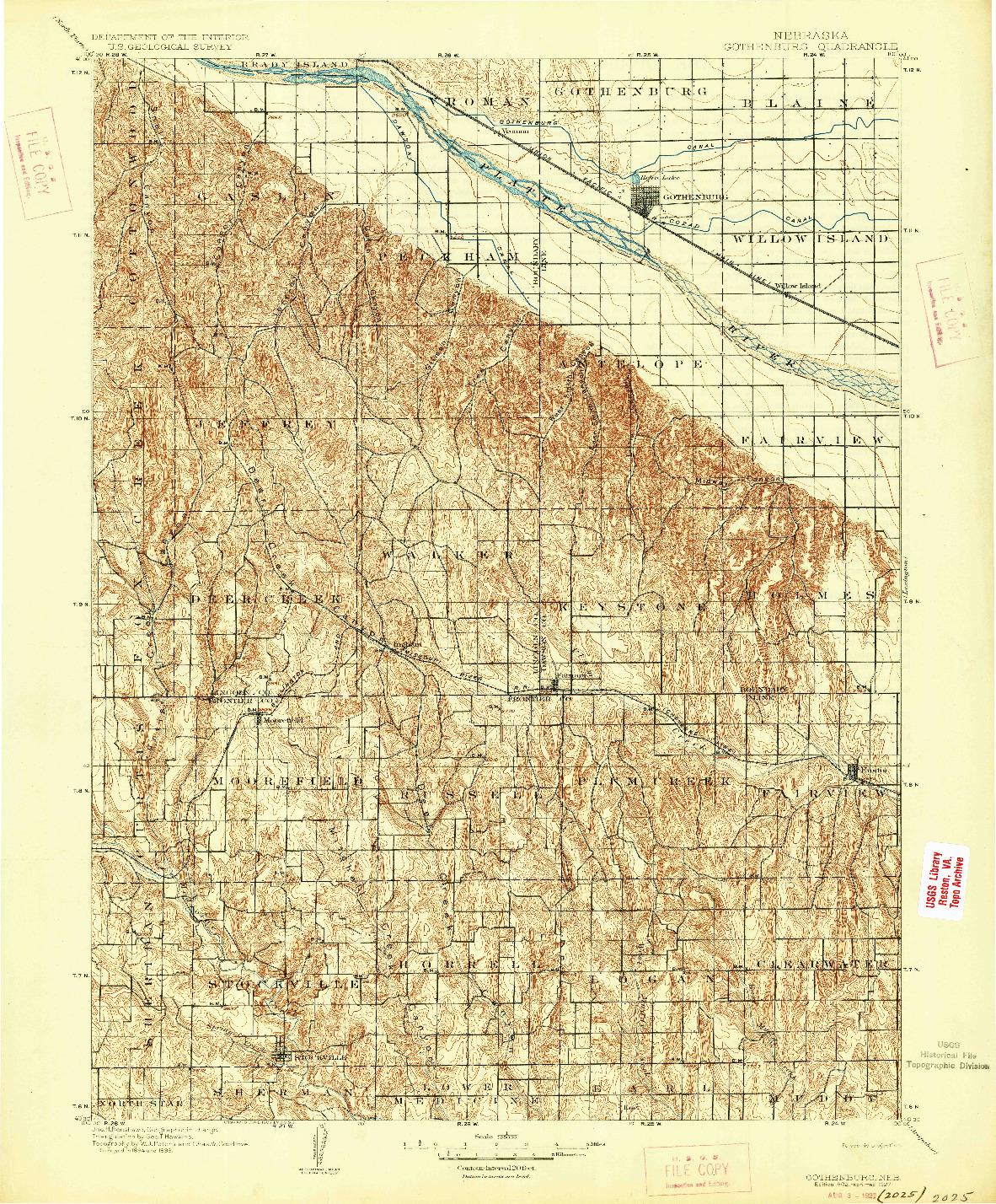 USGS 1:125000-SCALE QUADRANGLE FOR GOTHENBURG, NE 1902