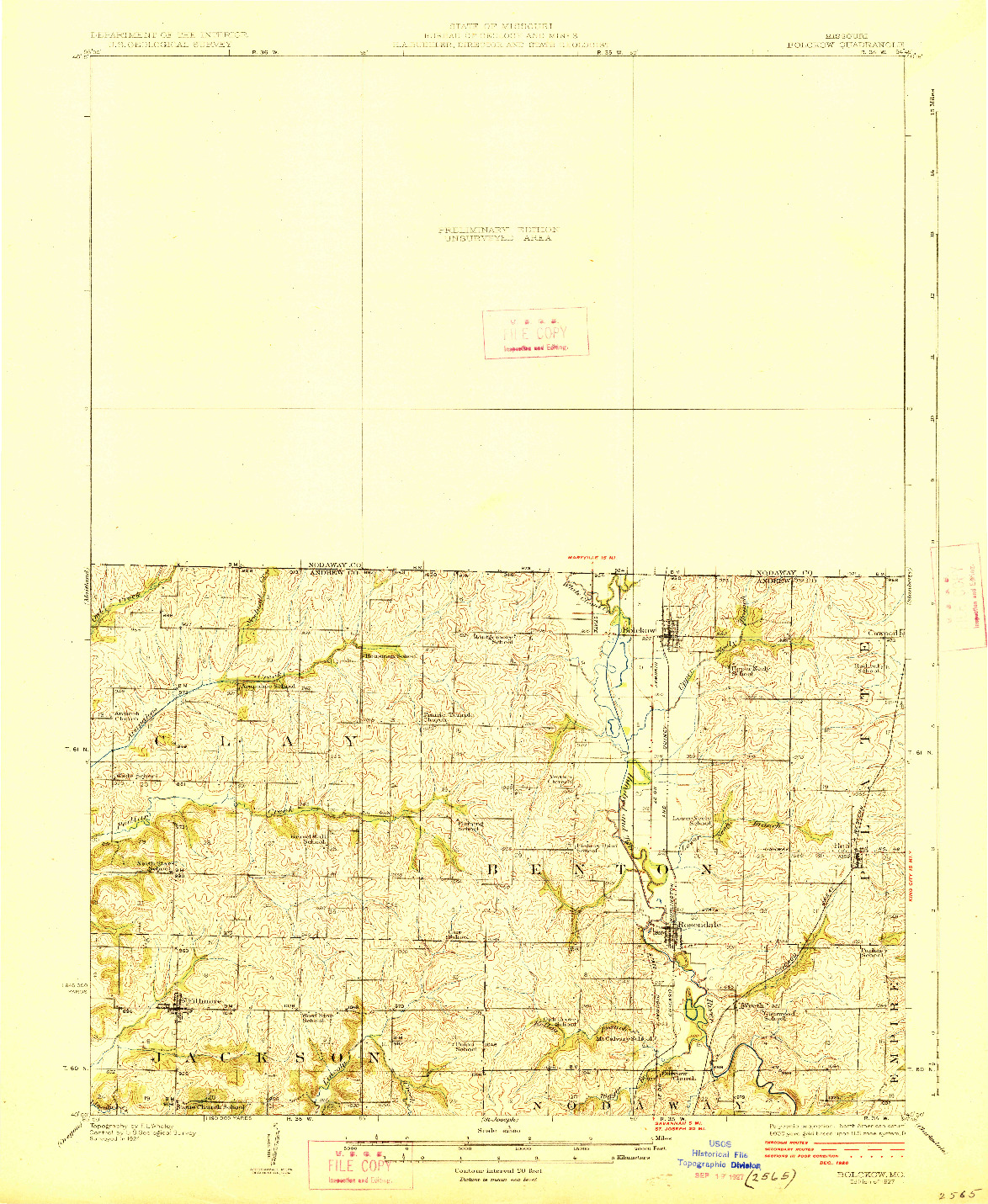 USGS 1:62500-SCALE QUADRANGLE FOR BOLCKOW, MO 1927