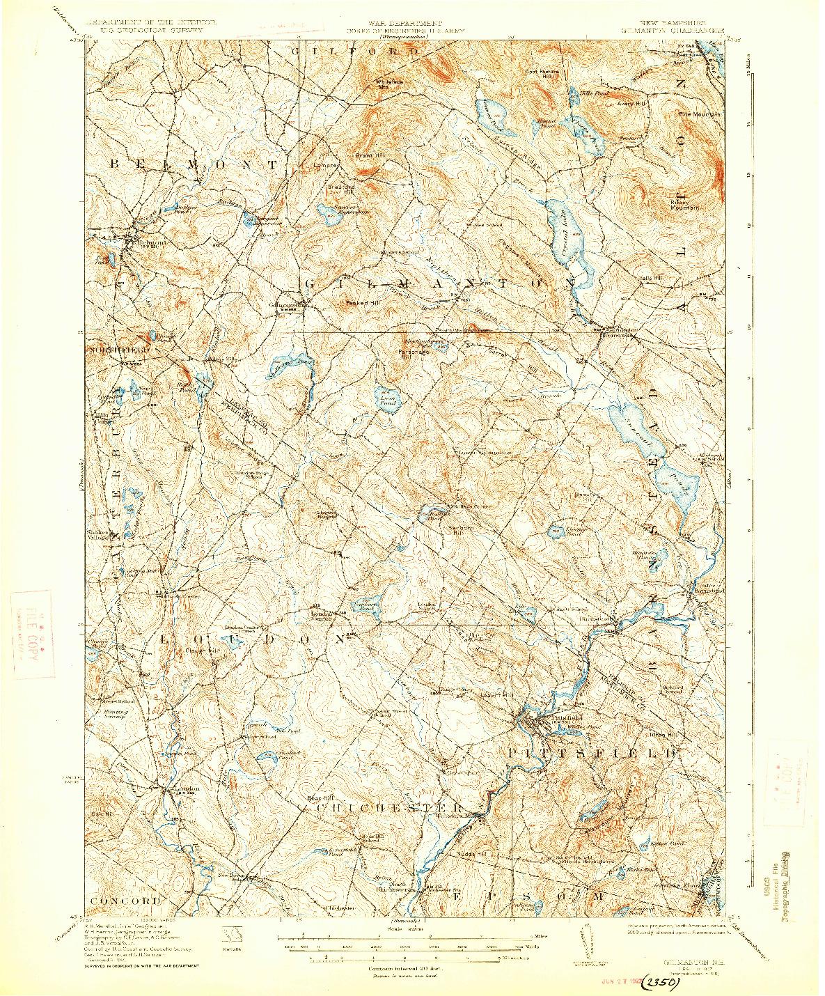USGS 1:62500-SCALE QUADRANGLE FOR GILMANTON, NH 1927