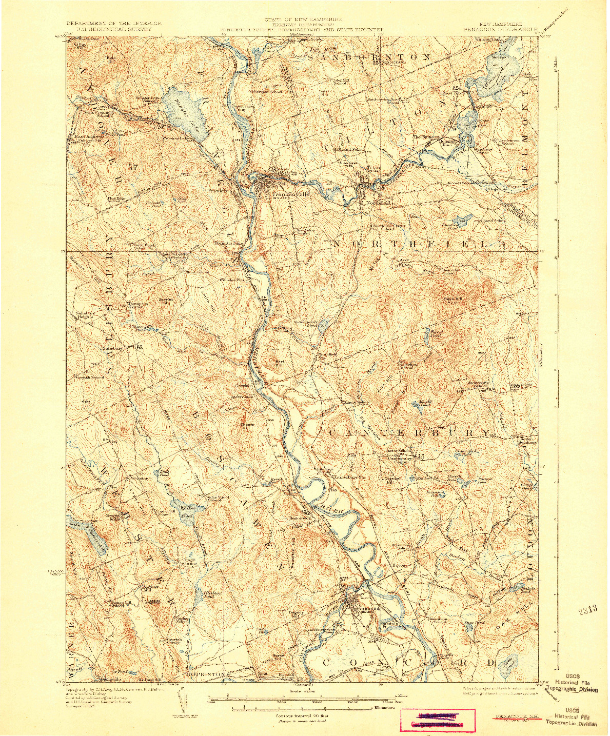 USGS 1:62500-SCALE QUADRANGLE FOR PENACOOK, NH 1927
