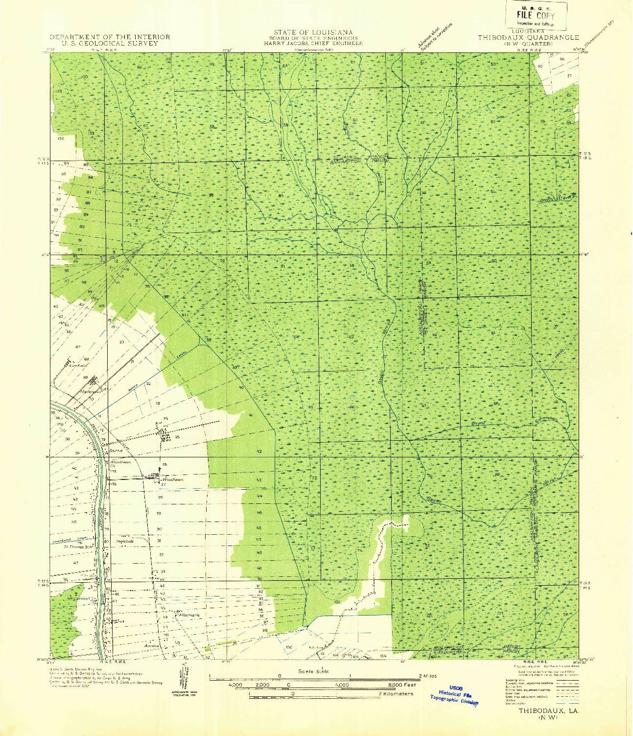 USGS 1:31680-SCALE QUADRANGLE FOR THIBODAUX NW, LA 1927