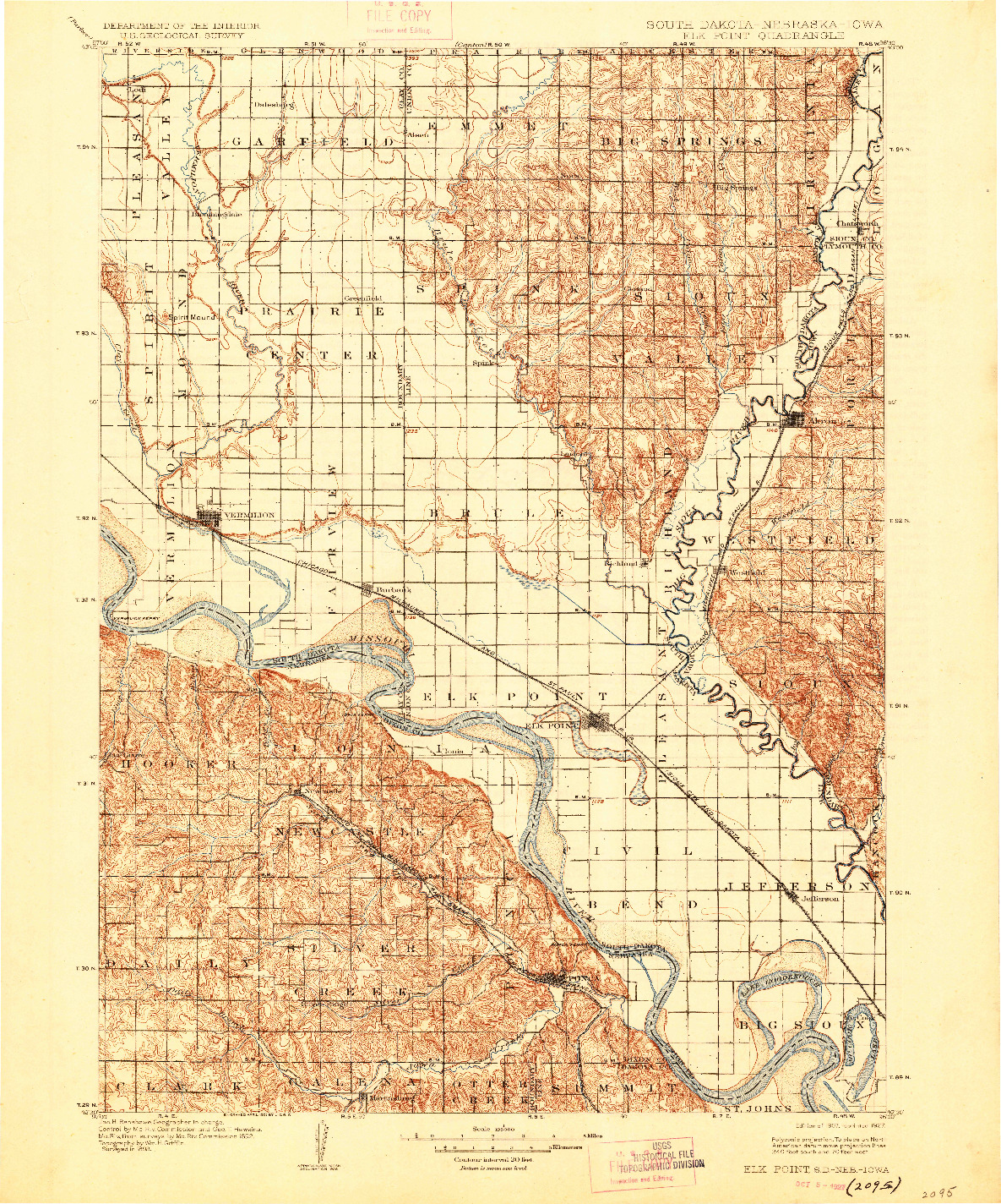 USGS 1:125000-SCALE QUADRANGLE FOR ELK POINT, SD 1907