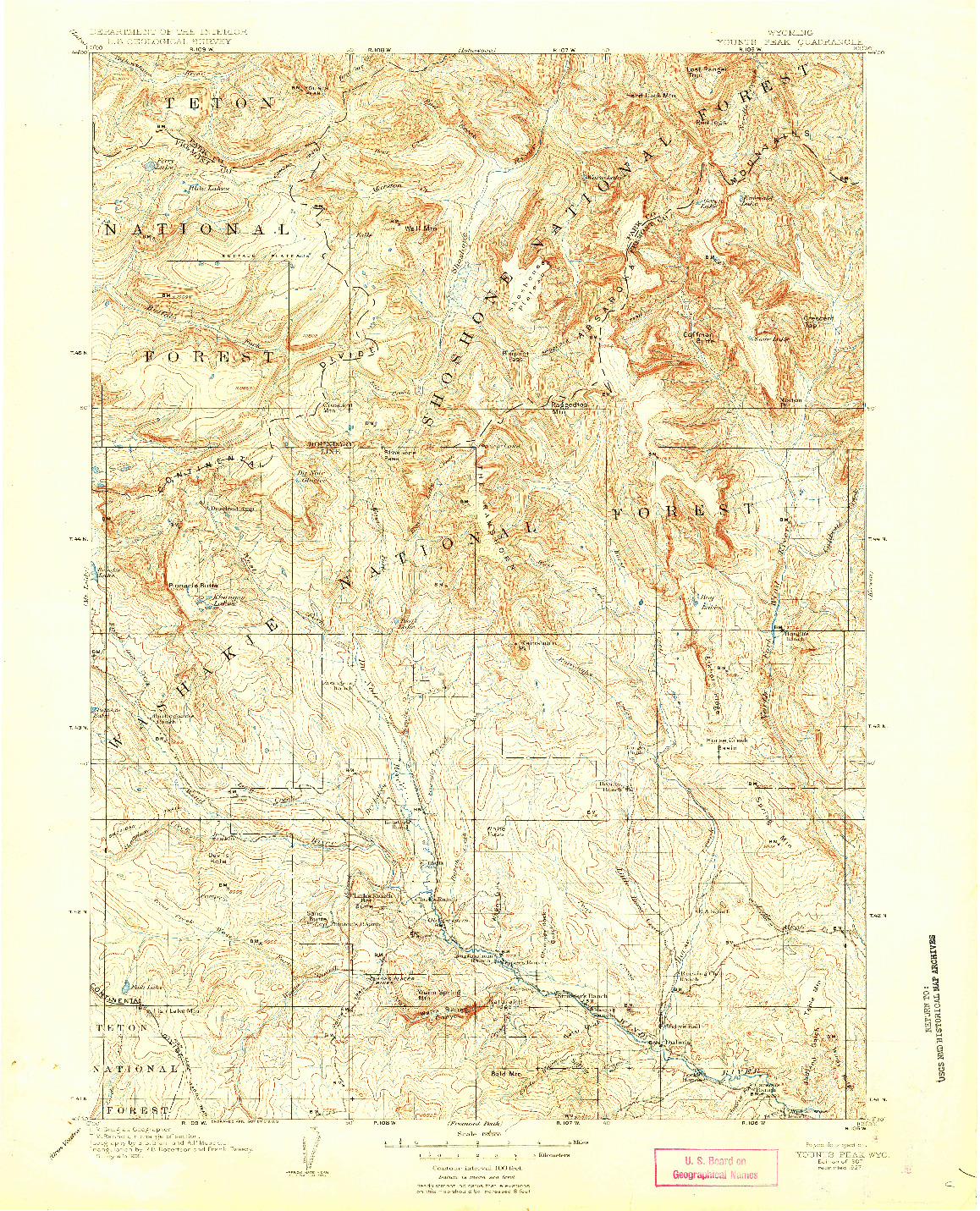 USGS 1:125000-SCALE QUADRANGLE FOR YOUNTS PEAK, WY 1907