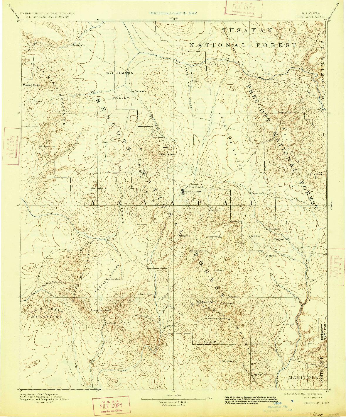USGS 1:250000-SCALE QUADRANGLE FOR PRESCOTT, AZ 1892