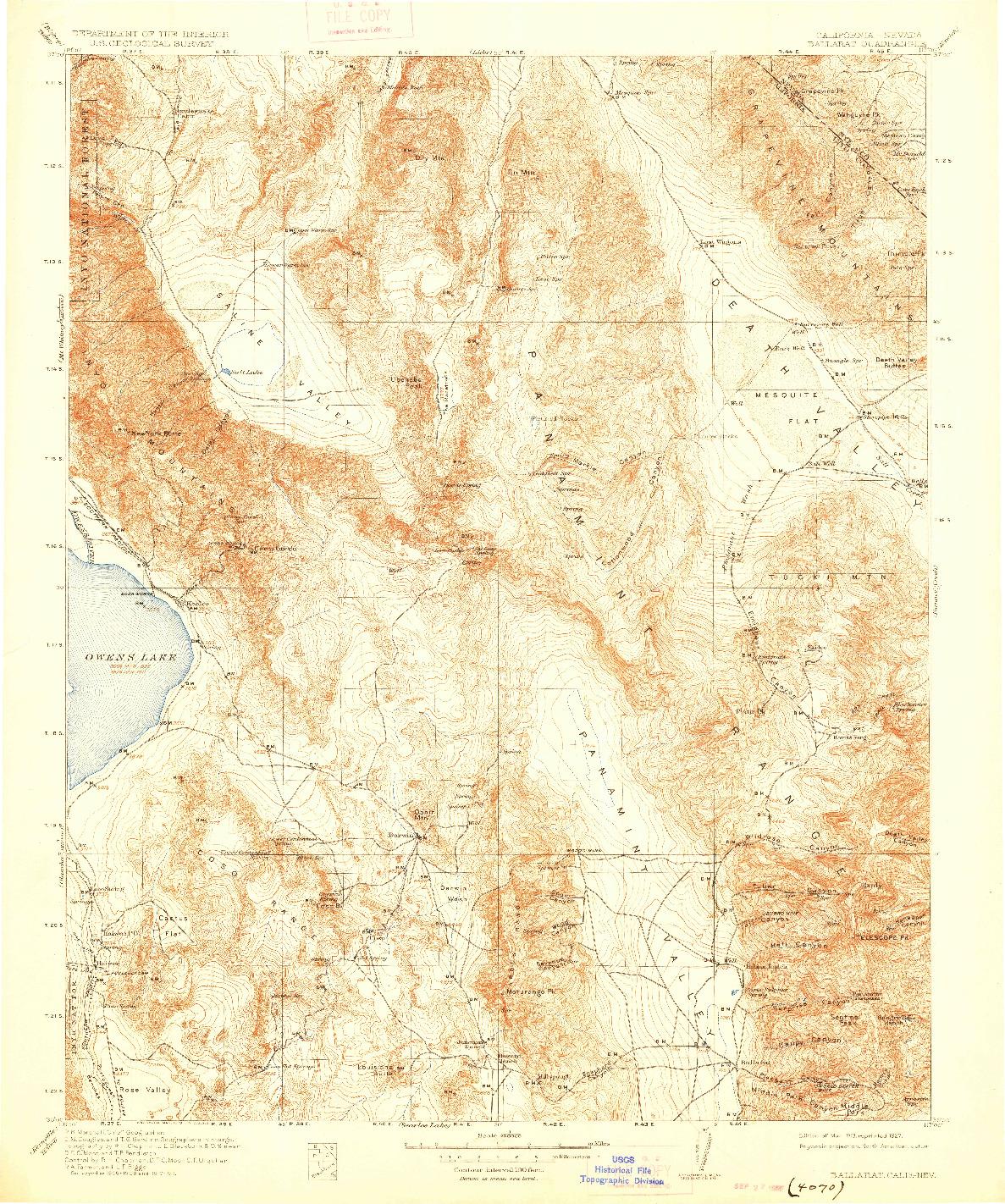 USGS 1:250000-SCALE QUADRANGLE FOR BALLARAT, CA 1913
