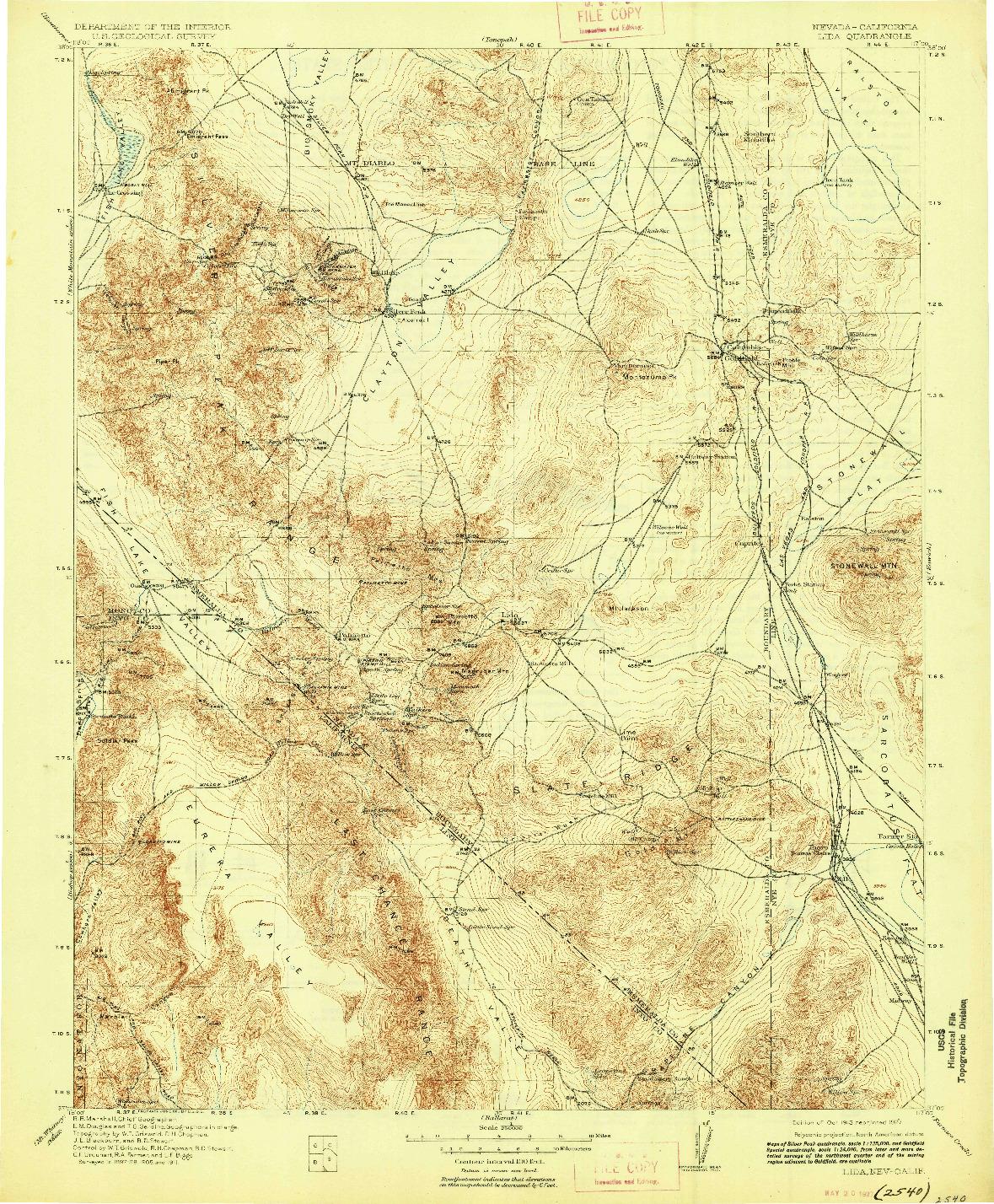 USGS 1:250000-SCALE QUADRANGLE FOR LIDA, NV 1913