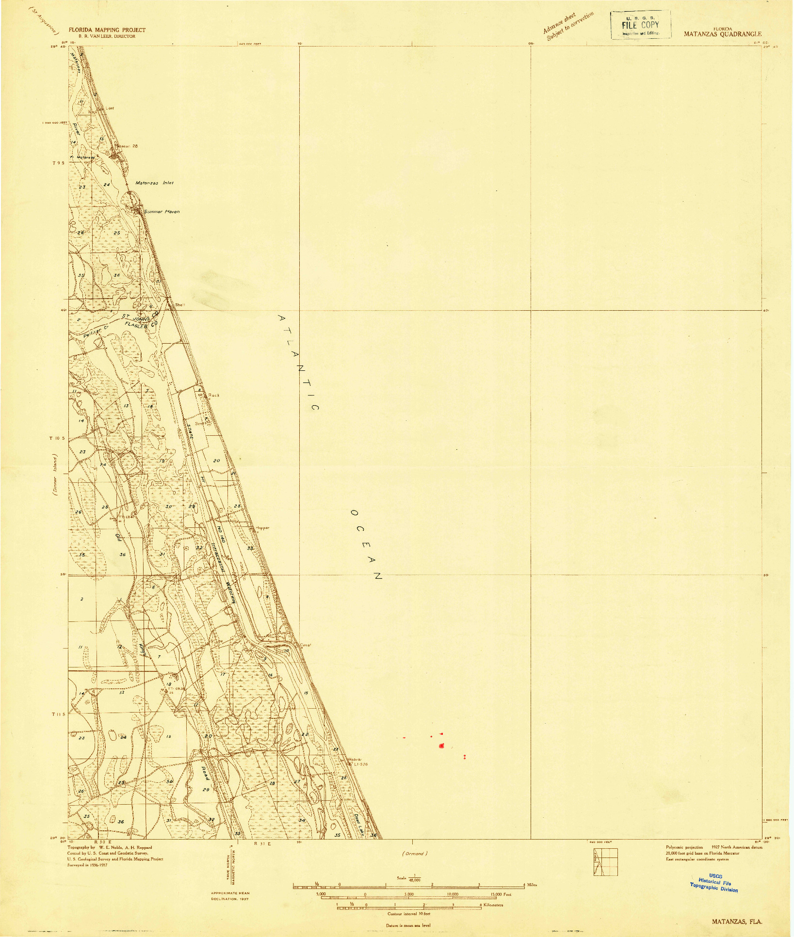 USGS 1:48000-SCALE QUADRANGLE FOR MATANZAS, FL 1927