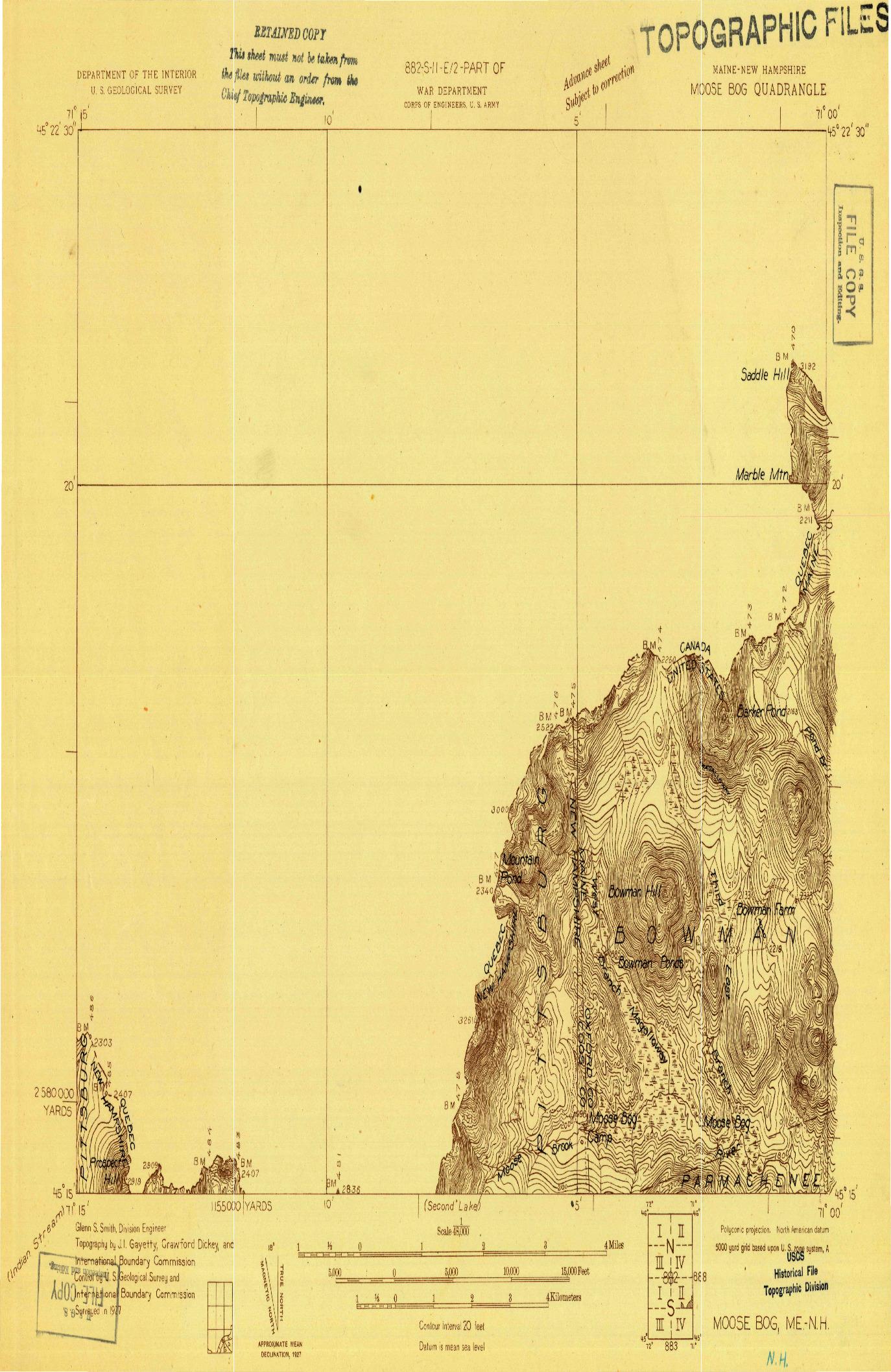 USGS 1:48000-SCALE QUADRANGLE FOR MOOSE BOG, ME 1927