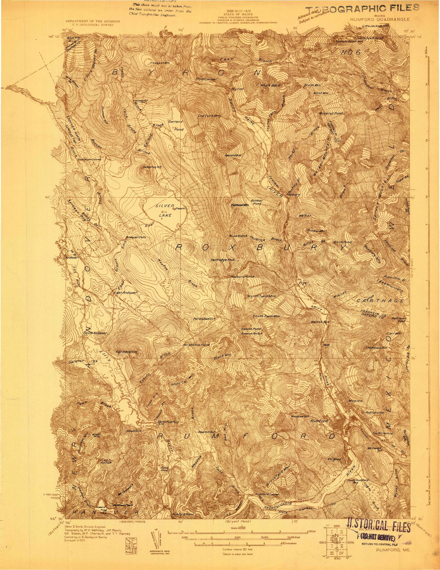 USGS 1:48000-SCALE QUADRANGLE FOR RUMFORD, ME 1927