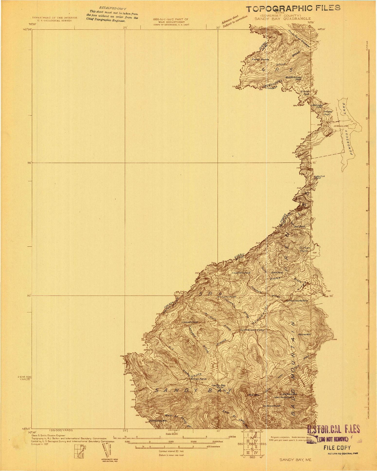 USGS 1:48000-SCALE QUADRANGLE FOR SANDY BAY, ME 1927