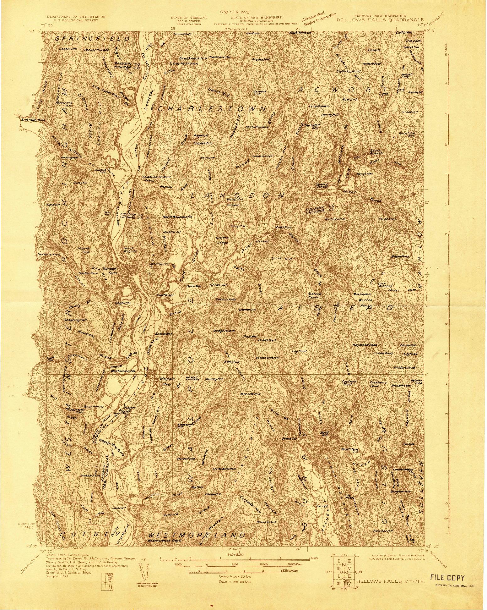 USGS 1:48000-SCALE QUADRANGLE FOR BELLOWS FALLS, VT 1927