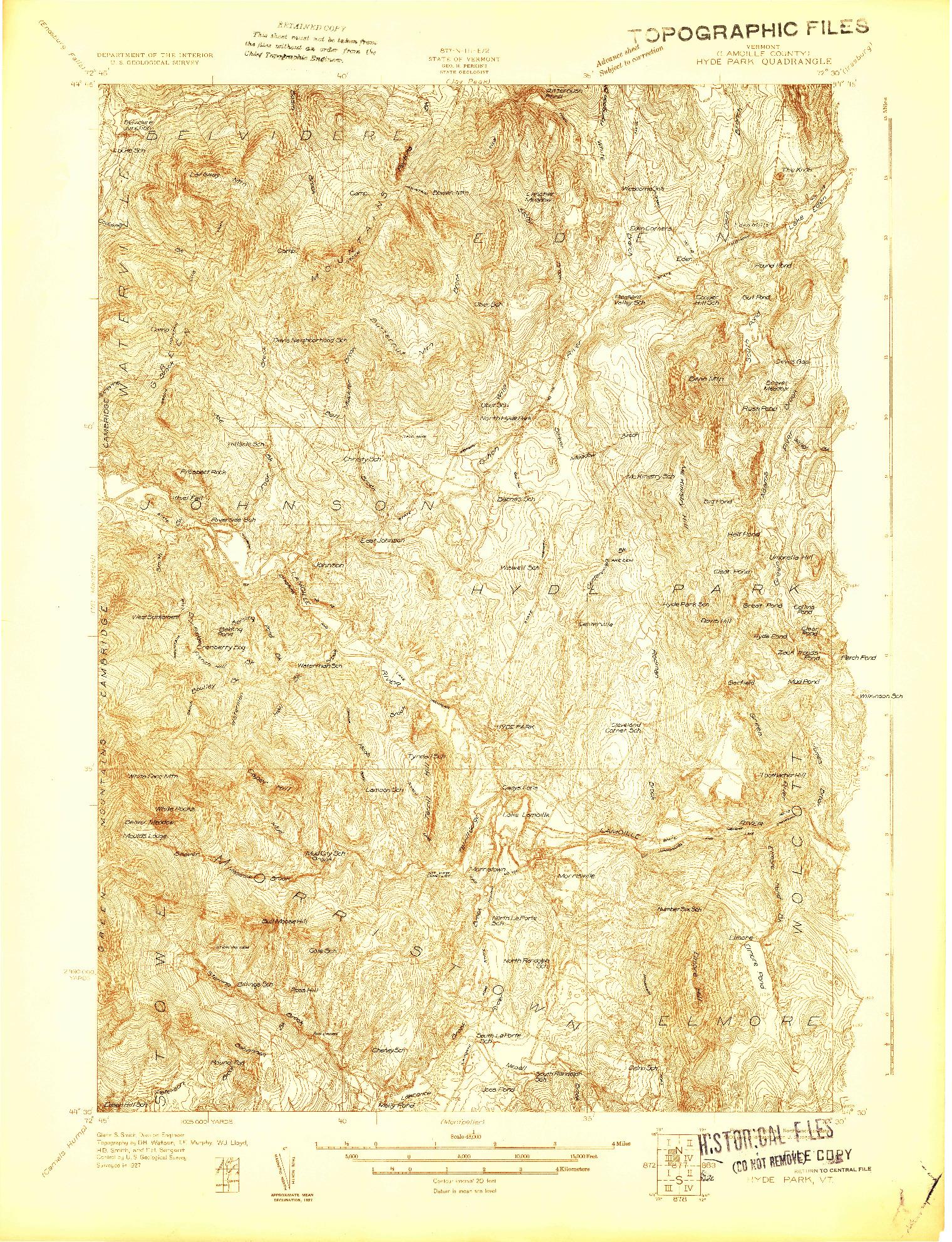 USGS 1:48000-SCALE QUADRANGLE FOR HYDE PARK, VT 1927