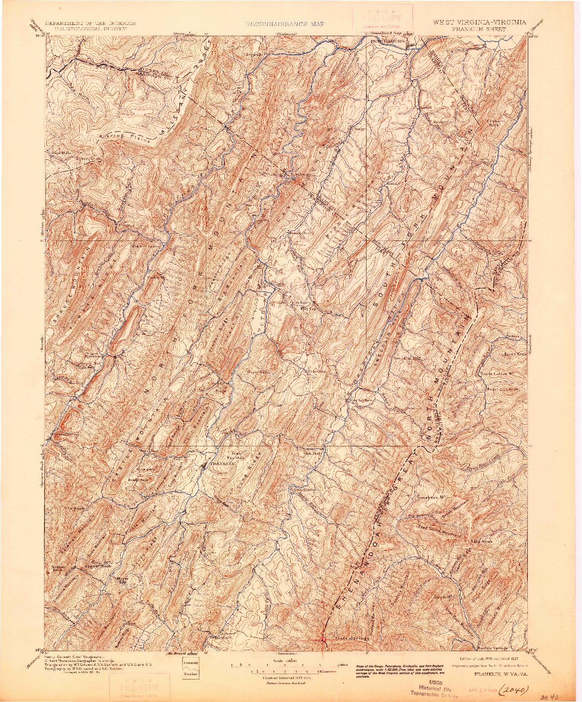 USGS 1:125000-SCALE QUADRANGLE FOR FRANKLIN, WV 1896