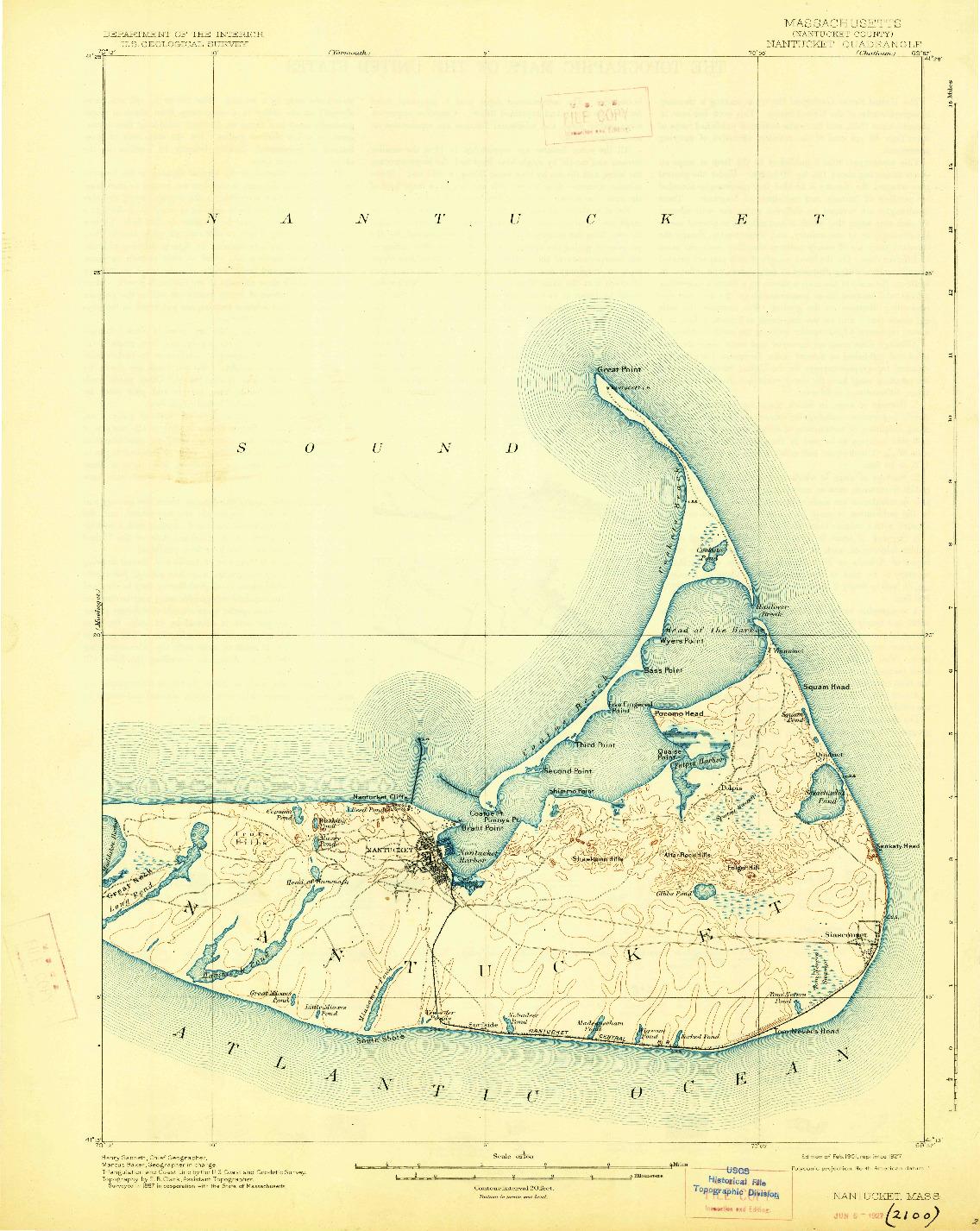 USGS 1:62500-SCALE QUADRANGLE FOR NANTUCKET, MA 1901