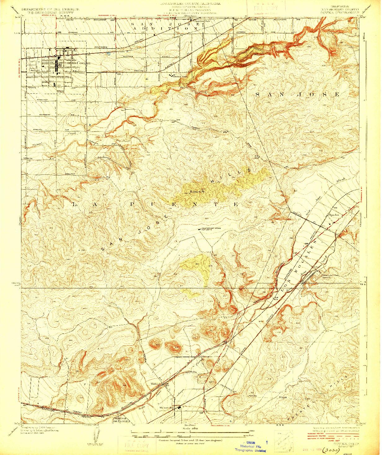 USGS 1:24000-SCALE QUADRANGLE FOR COVINA, CA 1927