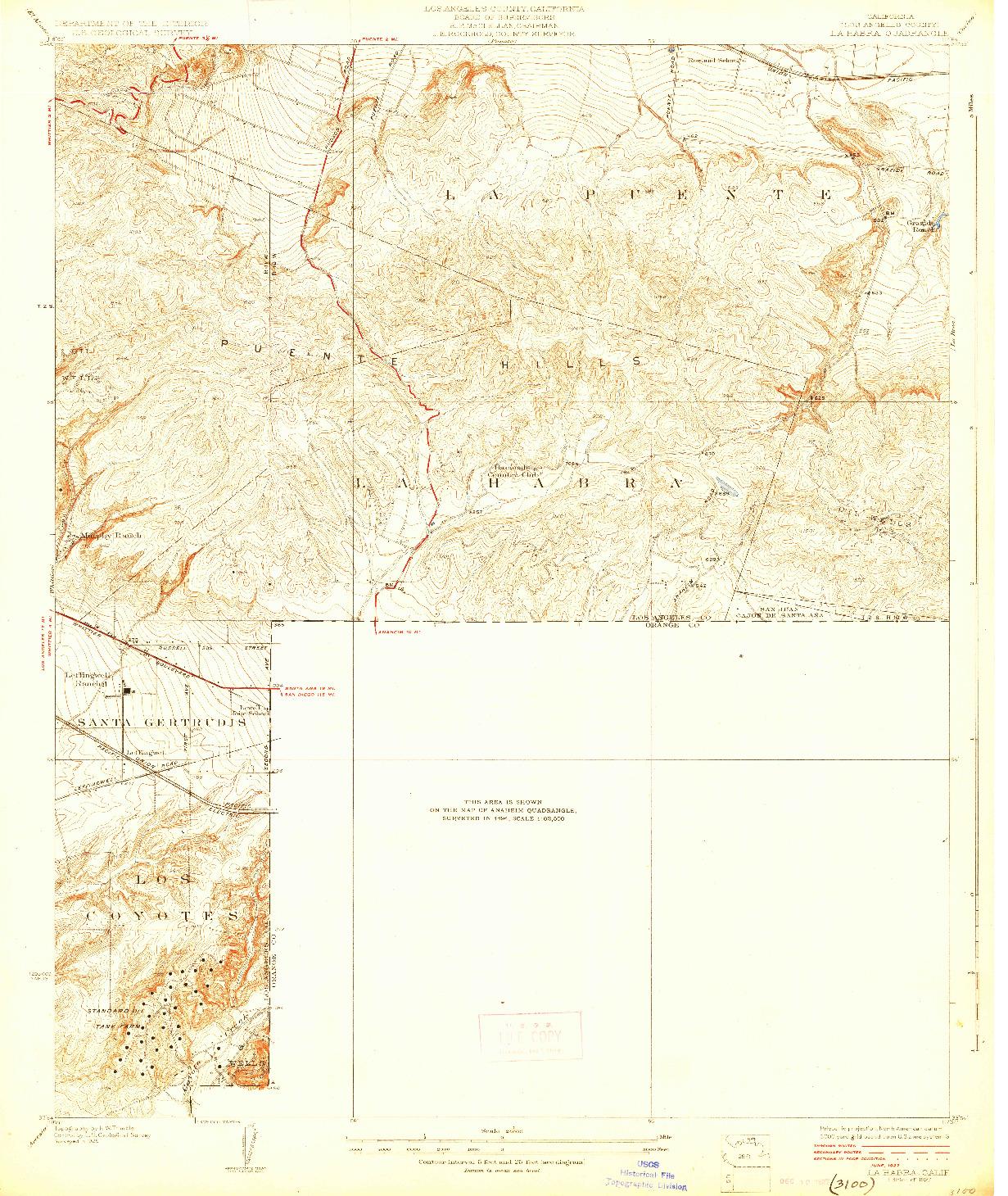USGS 1:24000-SCALE QUADRANGLE FOR LA HABRA, CA 1927