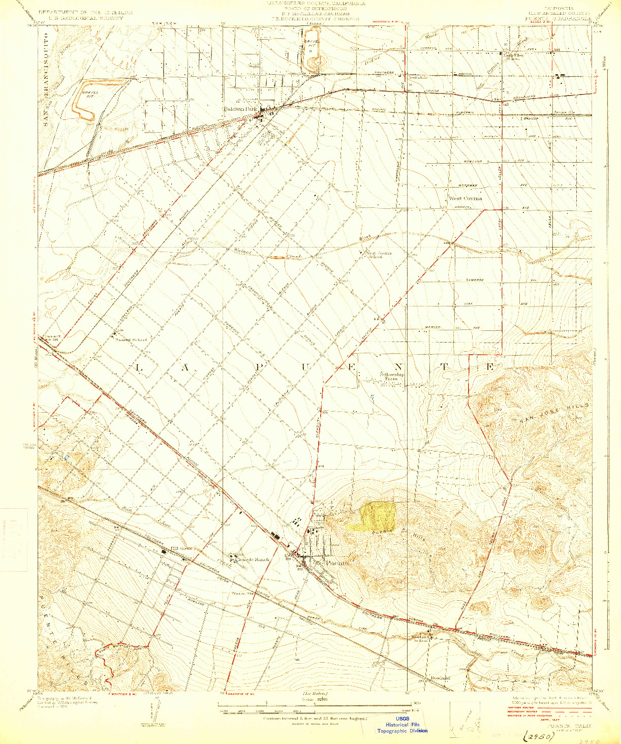 USGS 1:24000-SCALE QUADRANGLE FOR PUENTE, CA 1927