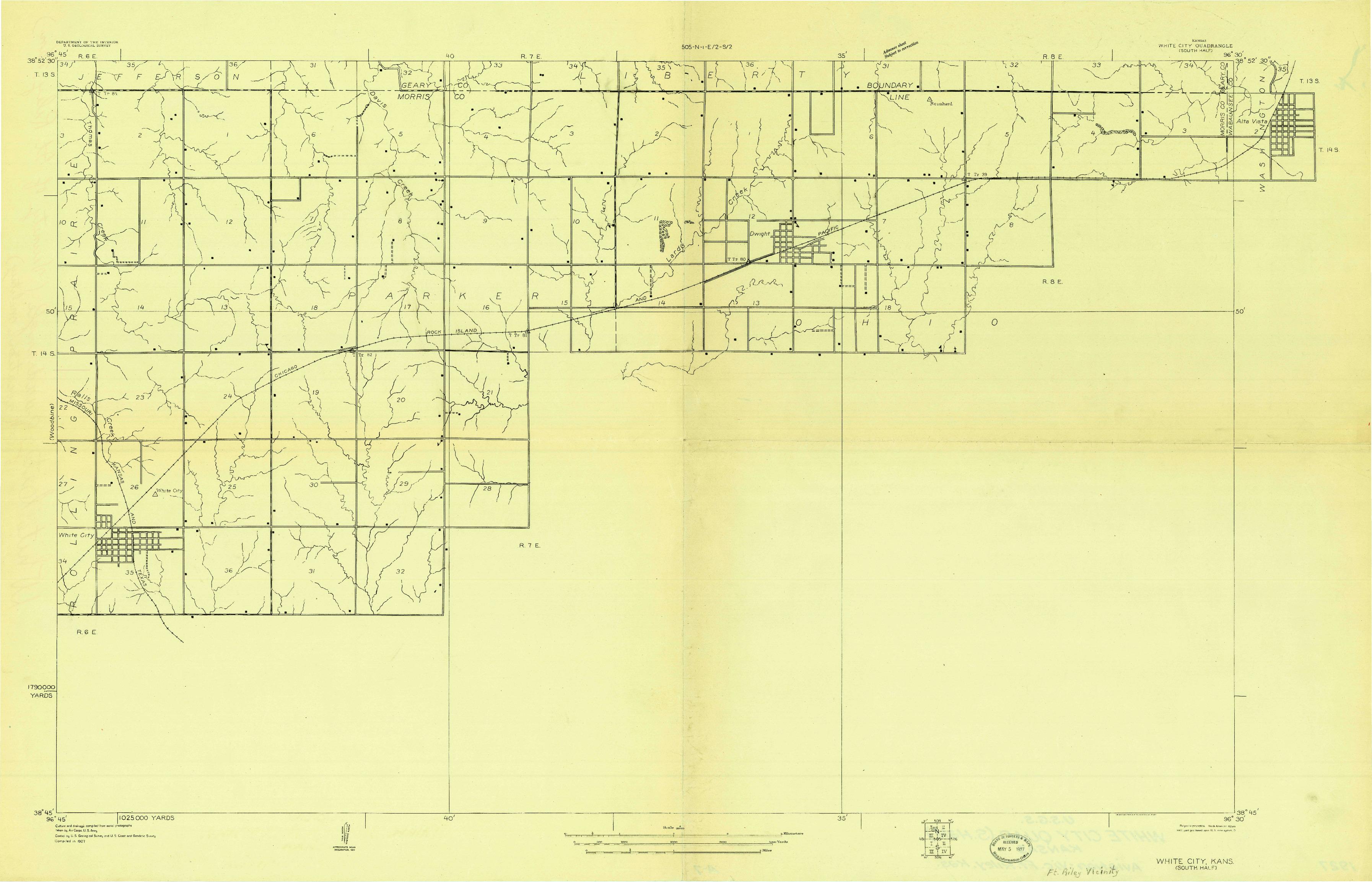 USGS 1:20000-SCALE QUADRANGLE FOR WHITE CITY SOUTH, KS 1927