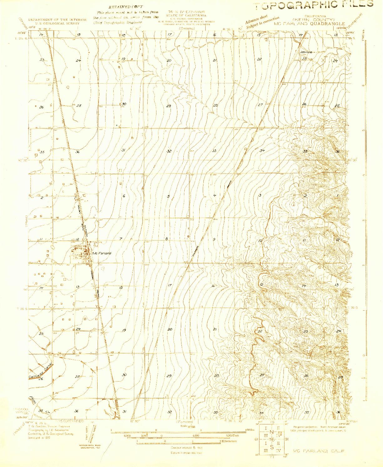 USGS 1:31680-SCALE QUADRANGLE FOR MCFARLAND, CA 1927