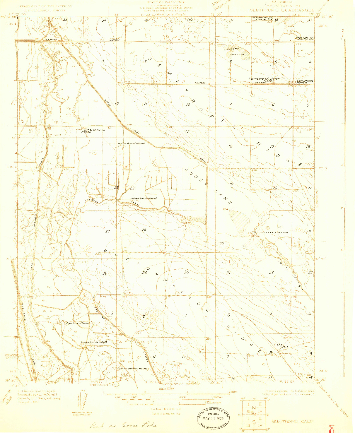 USGS 1:31680-SCALE QUADRANGLE FOR SEMITROPIC, CA 1927