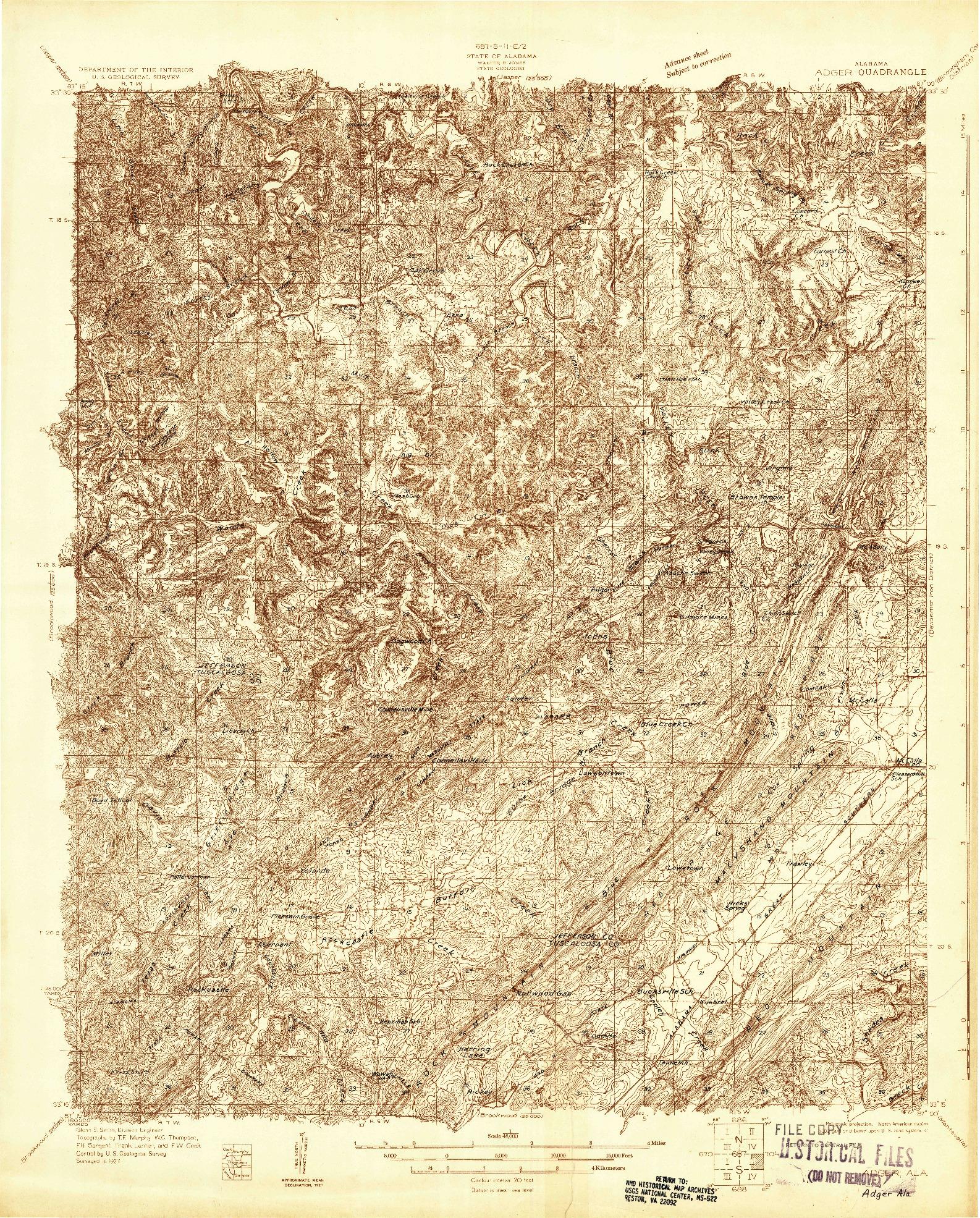 USGS 1:48000-SCALE QUADRANGLE FOR ADGER, AL 1927