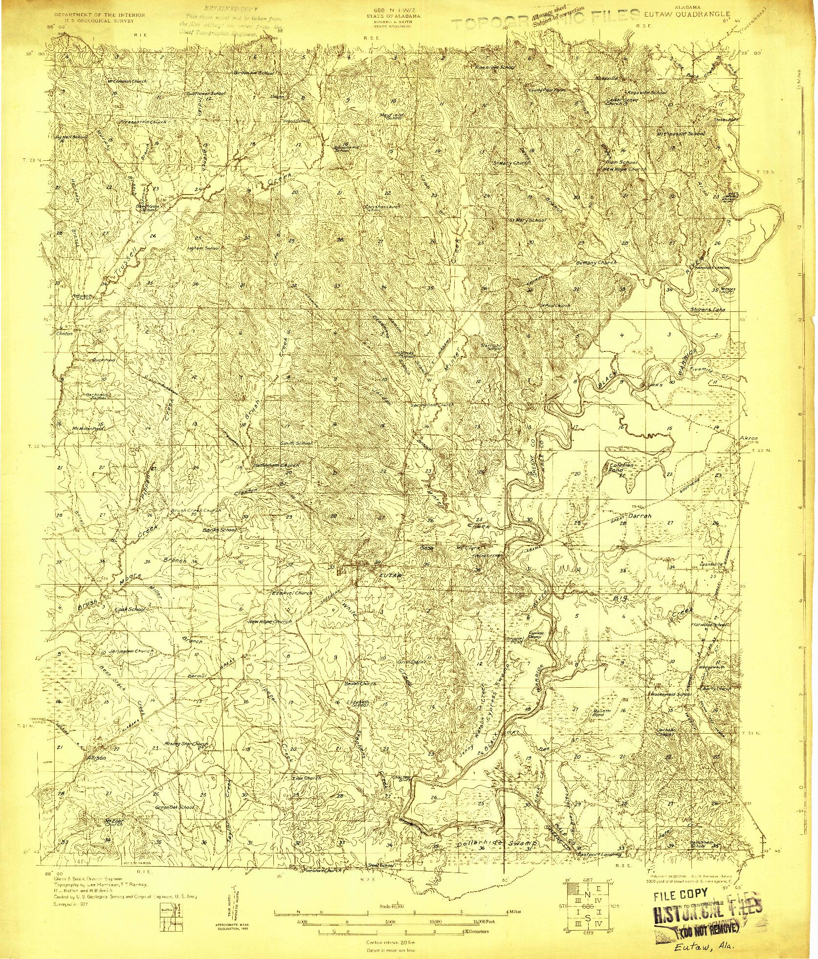 USGS 1:48000-SCALE QUADRANGLE FOR EUTAW, AL 1927
