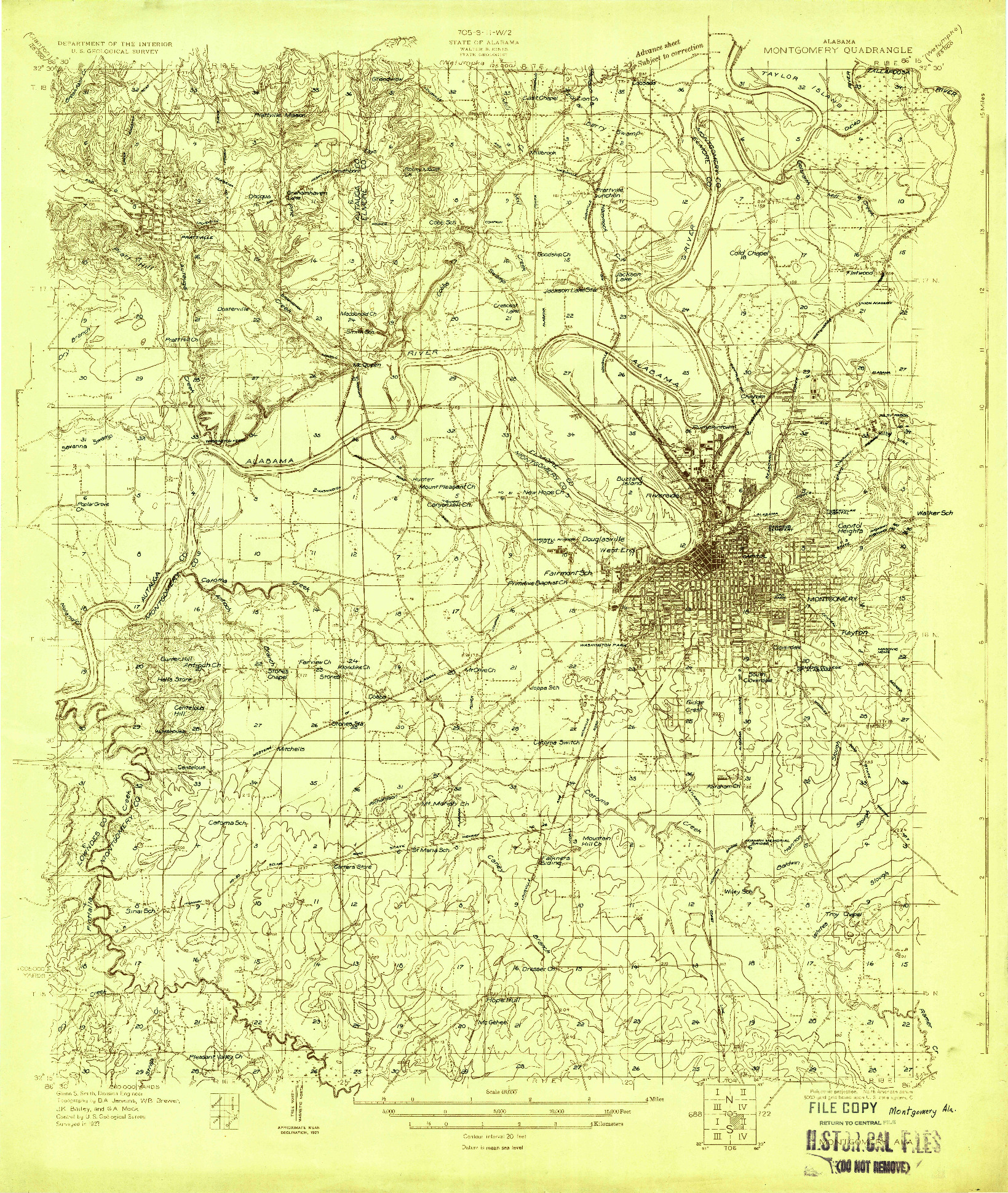USGS 1:48000-SCALE QUADRANGLE FOR MONTGOMERY, AL 1927