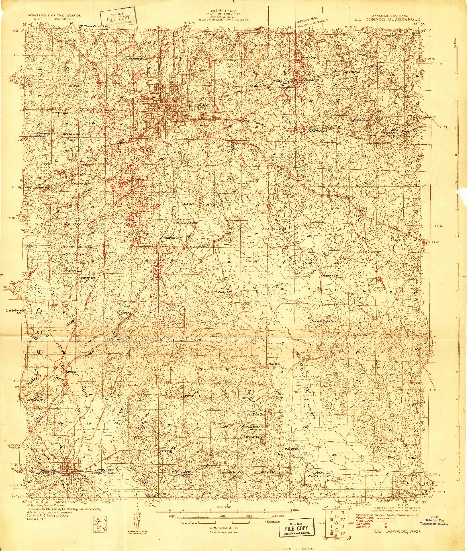 USGS 1:48000-SCALE QUADRANGLE FOR EL DORADO, AR 1927