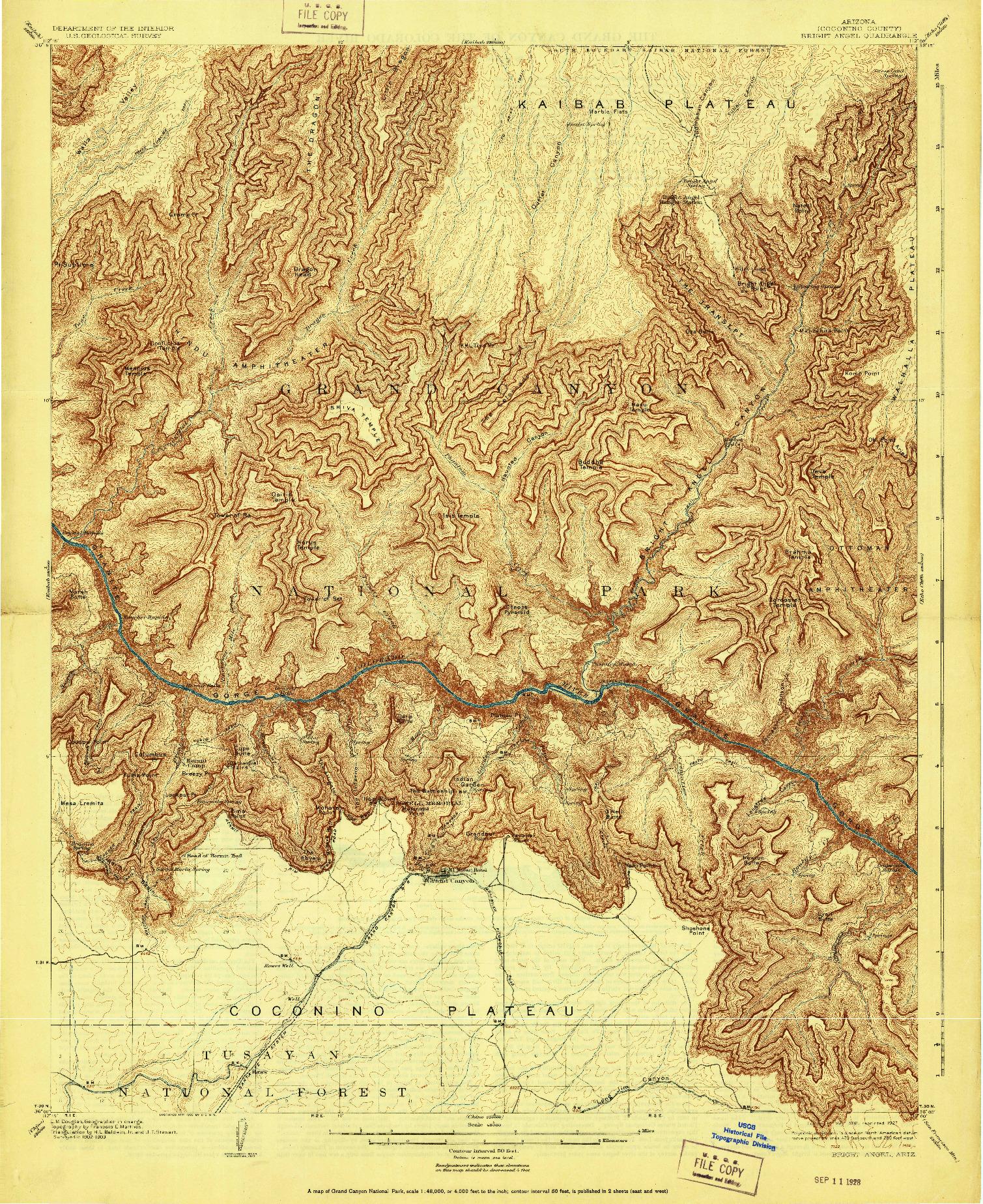 USGS 1:48000-SCALE QUADRANGLE FOR BRIGHT ANGEL, AZ 1906