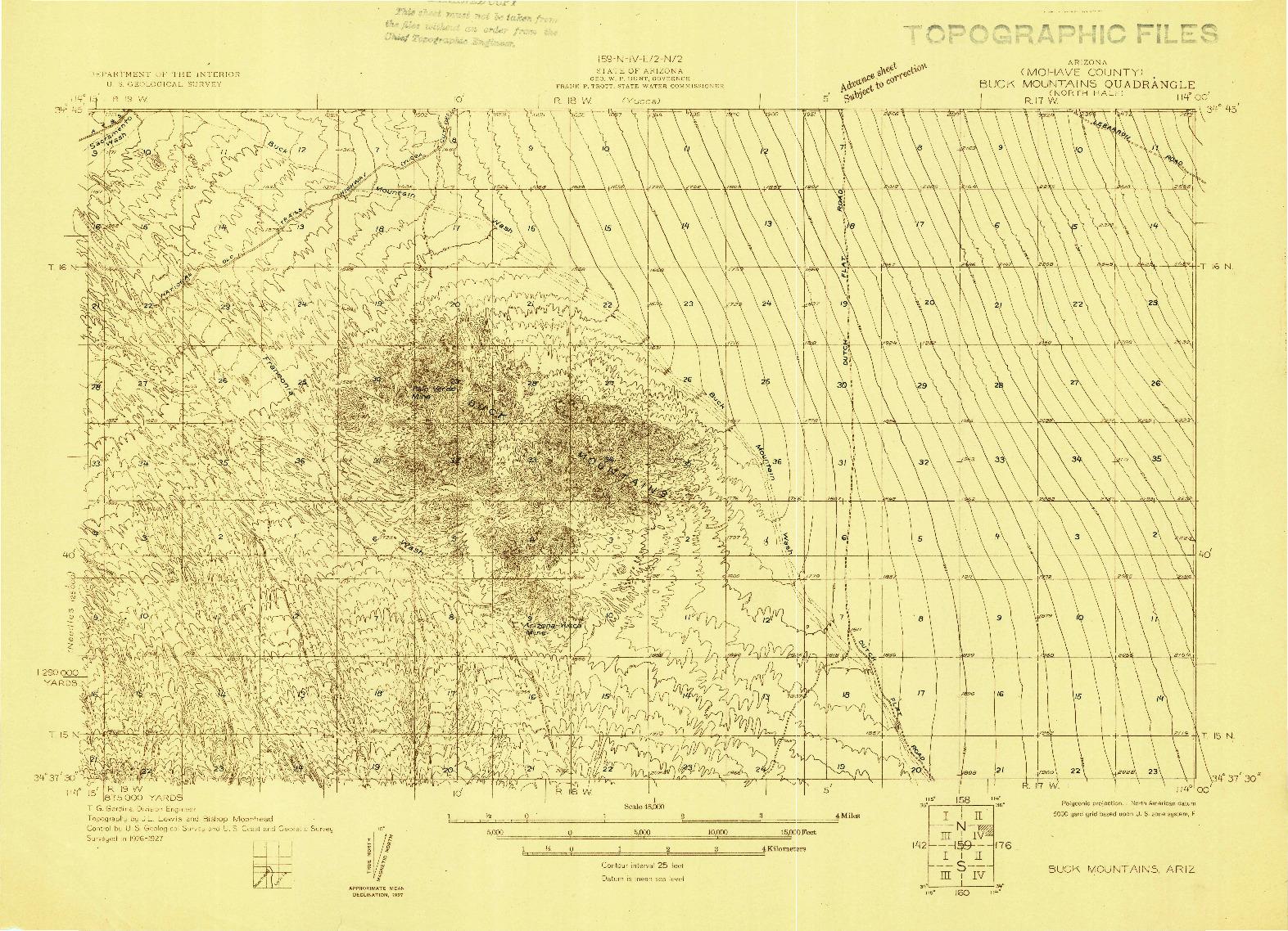 USGS 1:48000-SCALE QUADRANGLE FOR BUCK MOUNTAINS, AZ 1927